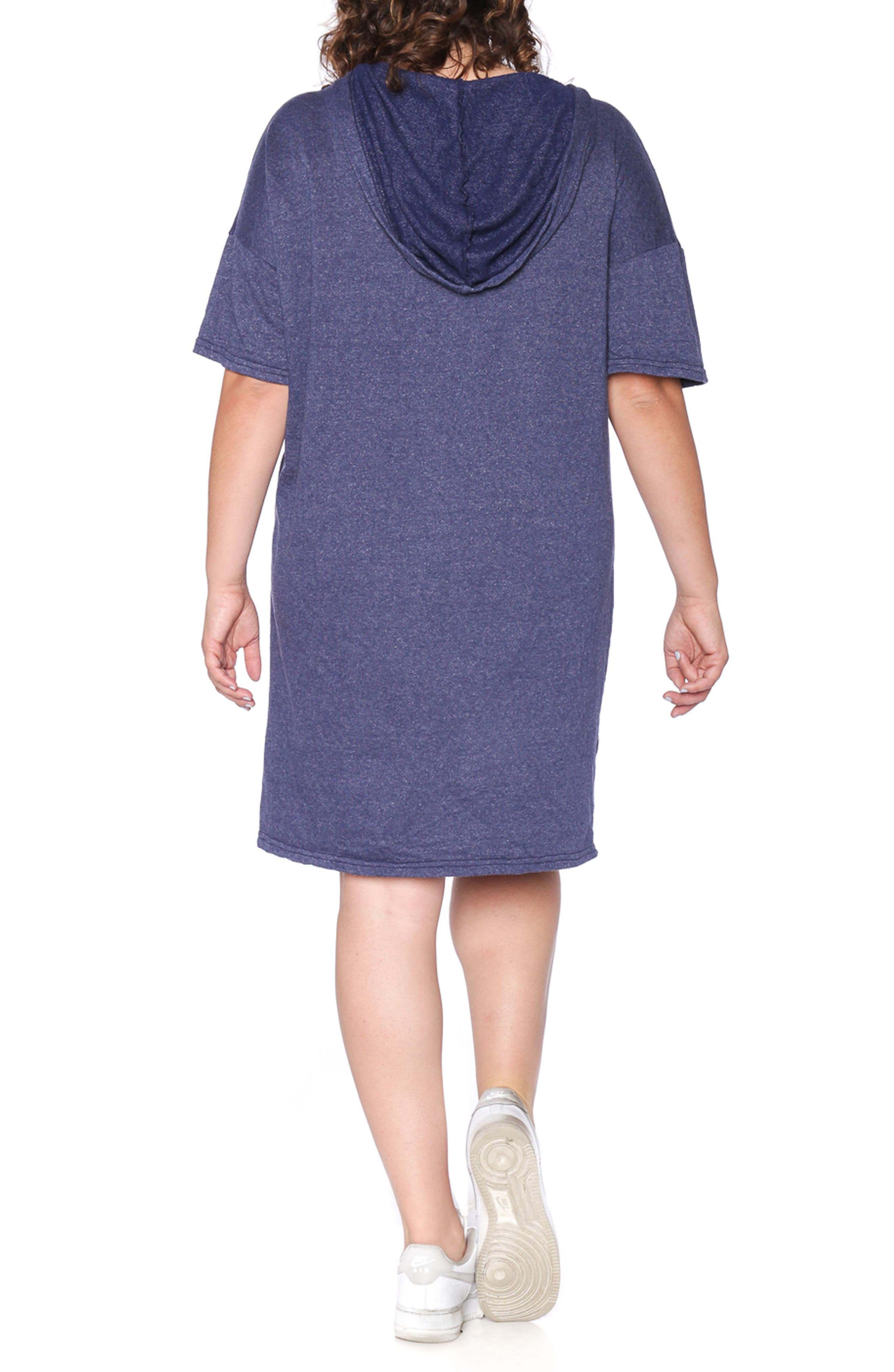 Lace-Up Hoodie Dress,                             Alternate thumbnail 2, color,                             NAVY