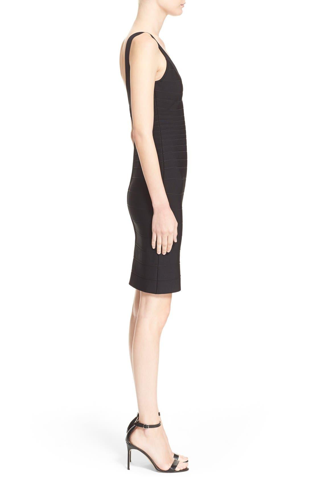 'Sydney' U-Neck Bandage Dress,                             Alternate thumbnail 4, color,                             001