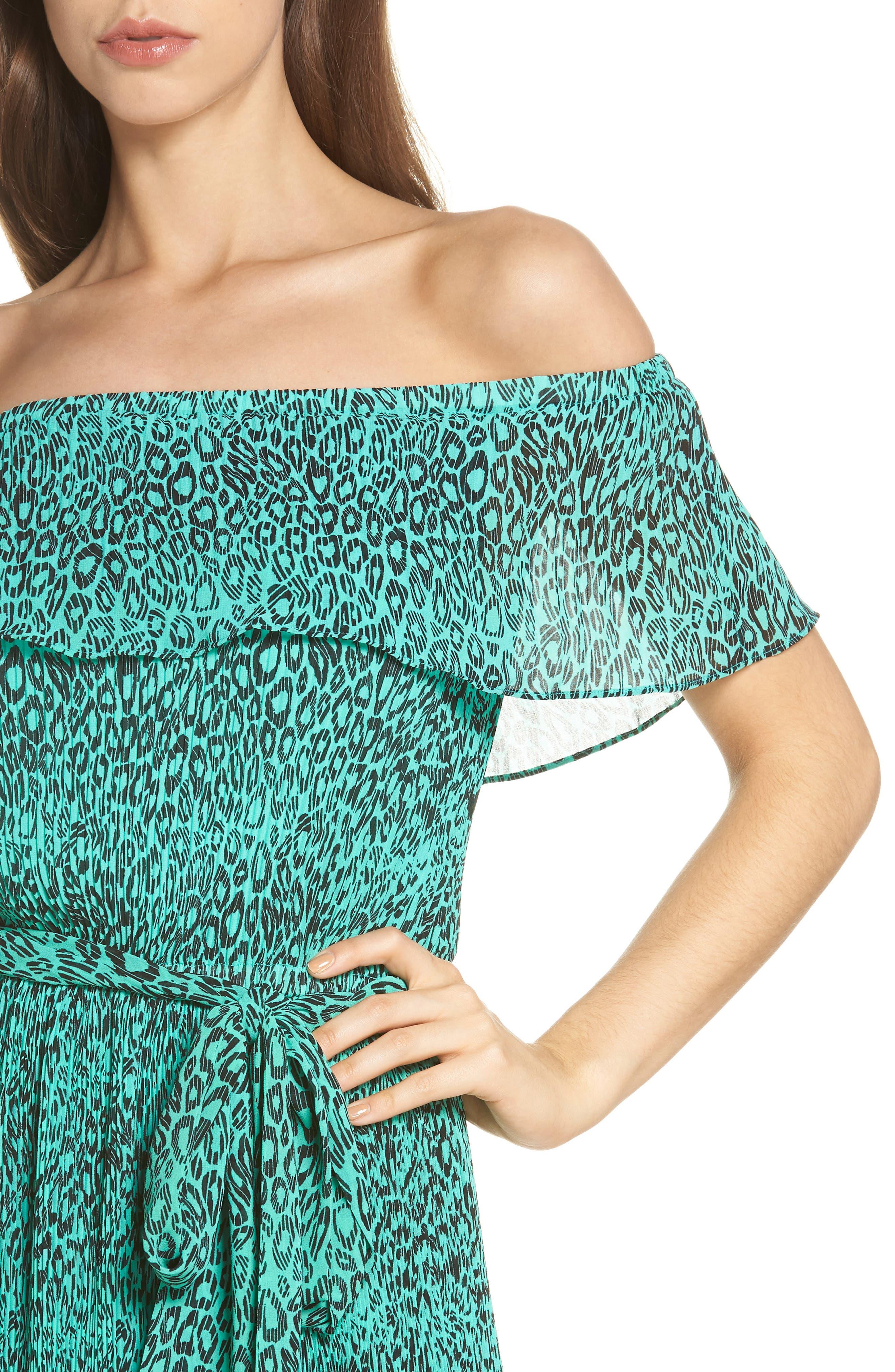 Off the Shoulder Chiffon Midi Dress,                             Alternate thumbnail 4, color,                             300