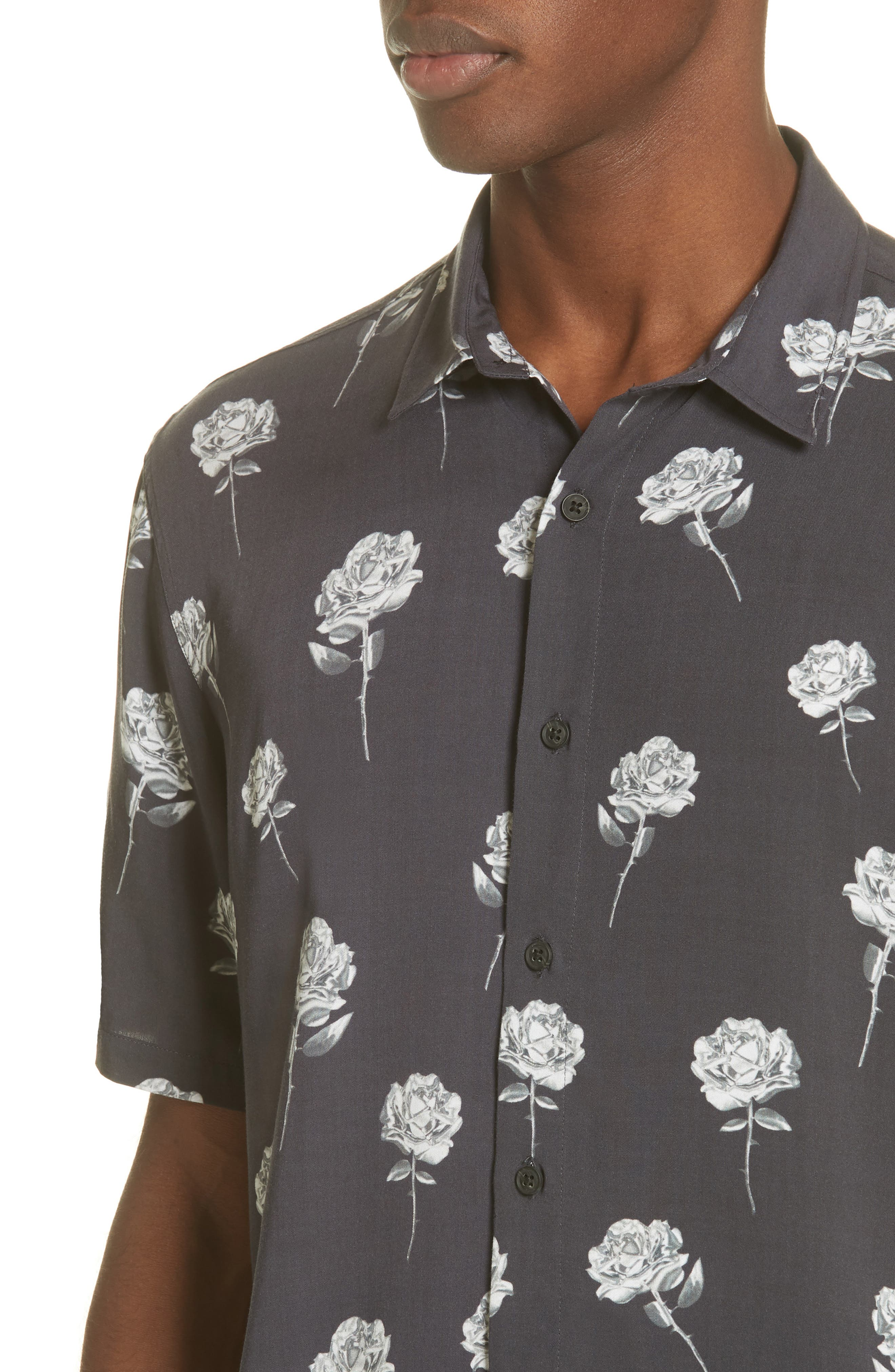 Chrome Rose Print Shirt,                             Alternate thumbnail 2, color,                             BROWN