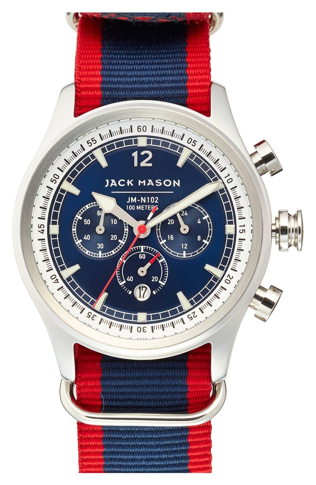 Nautical Chronograph NATO Strap Watch, 42mm,                             Main thumbnail 4, color,