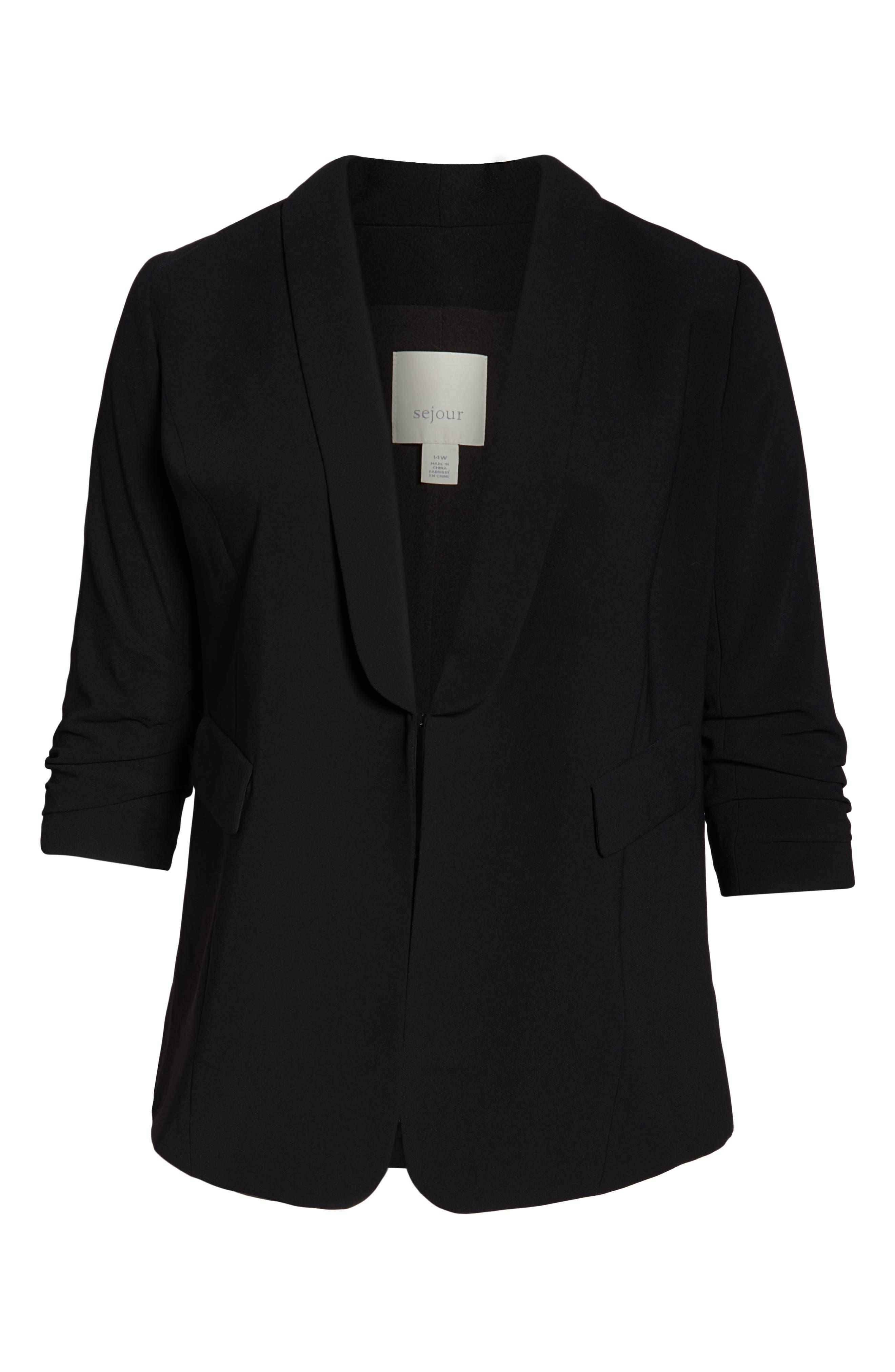 Gathered Sleeve Blazer,                             Alternate thumbnail 6, color,                             BLACK