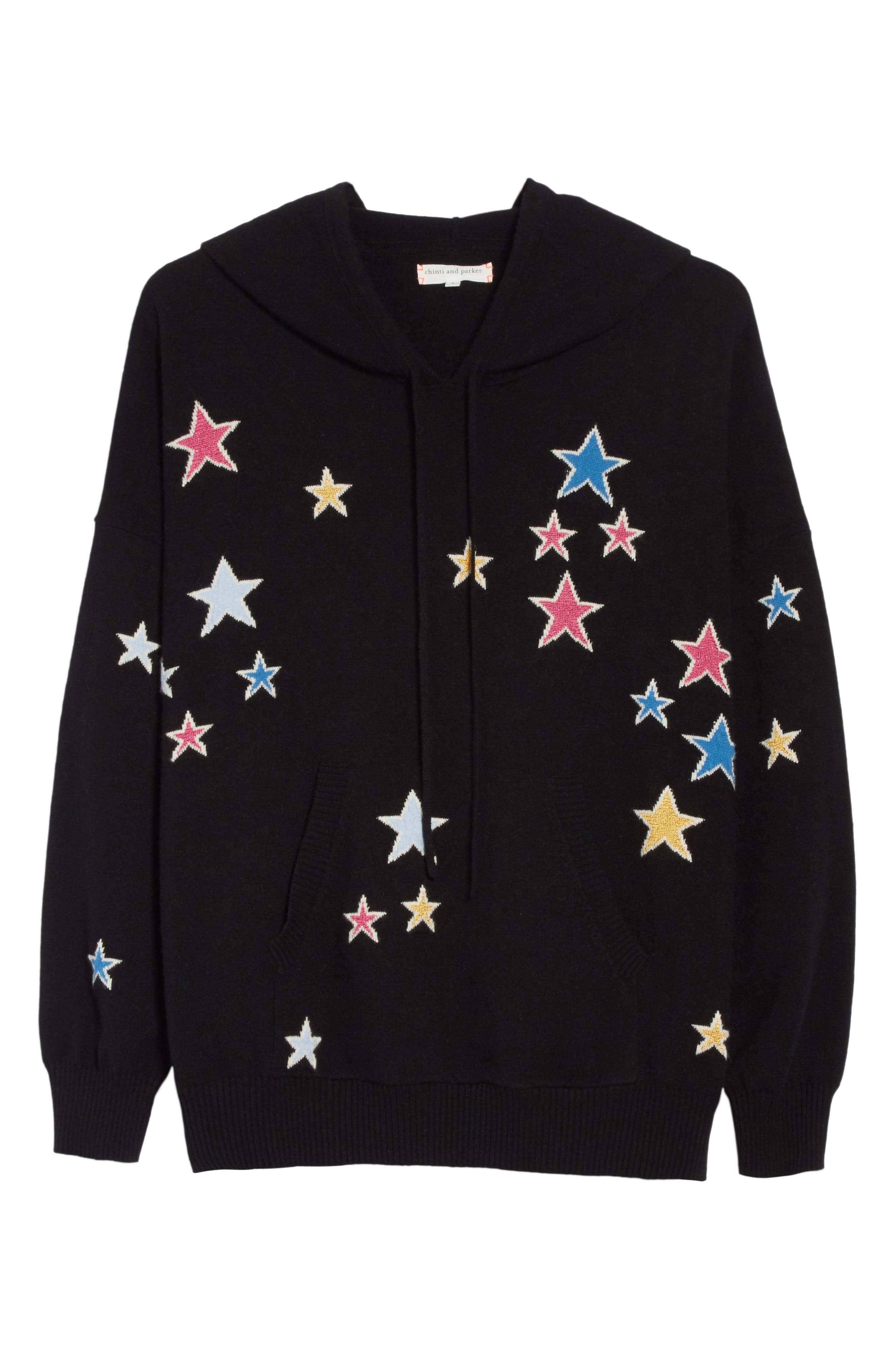 CHINTI & PARKER Acid Star Knit Cashmere Hoodie,                             Alternate thumbnail 6, color,                             001