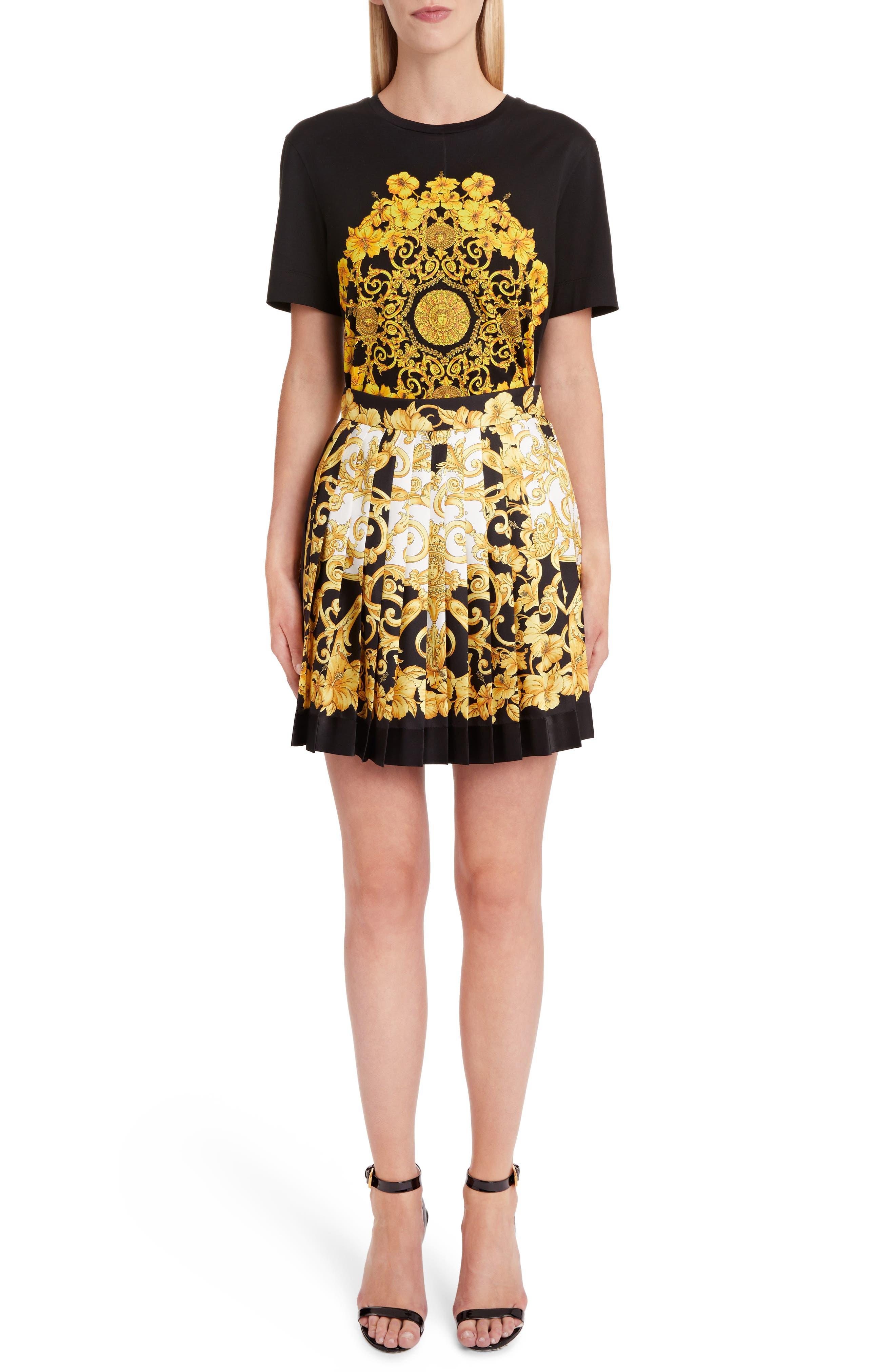 Hibiscus Print Pleated Silk Skirt,                             Alternate thumbnail 6, color,                             BLACK PRINT