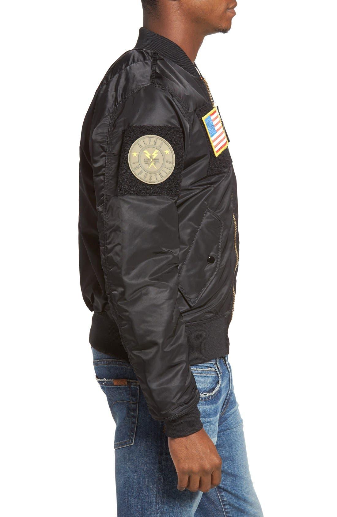 Slim Fit Reversible MA-1 Flex Bomber Jacket,                             Alternate thumbnail 3, color,                             001