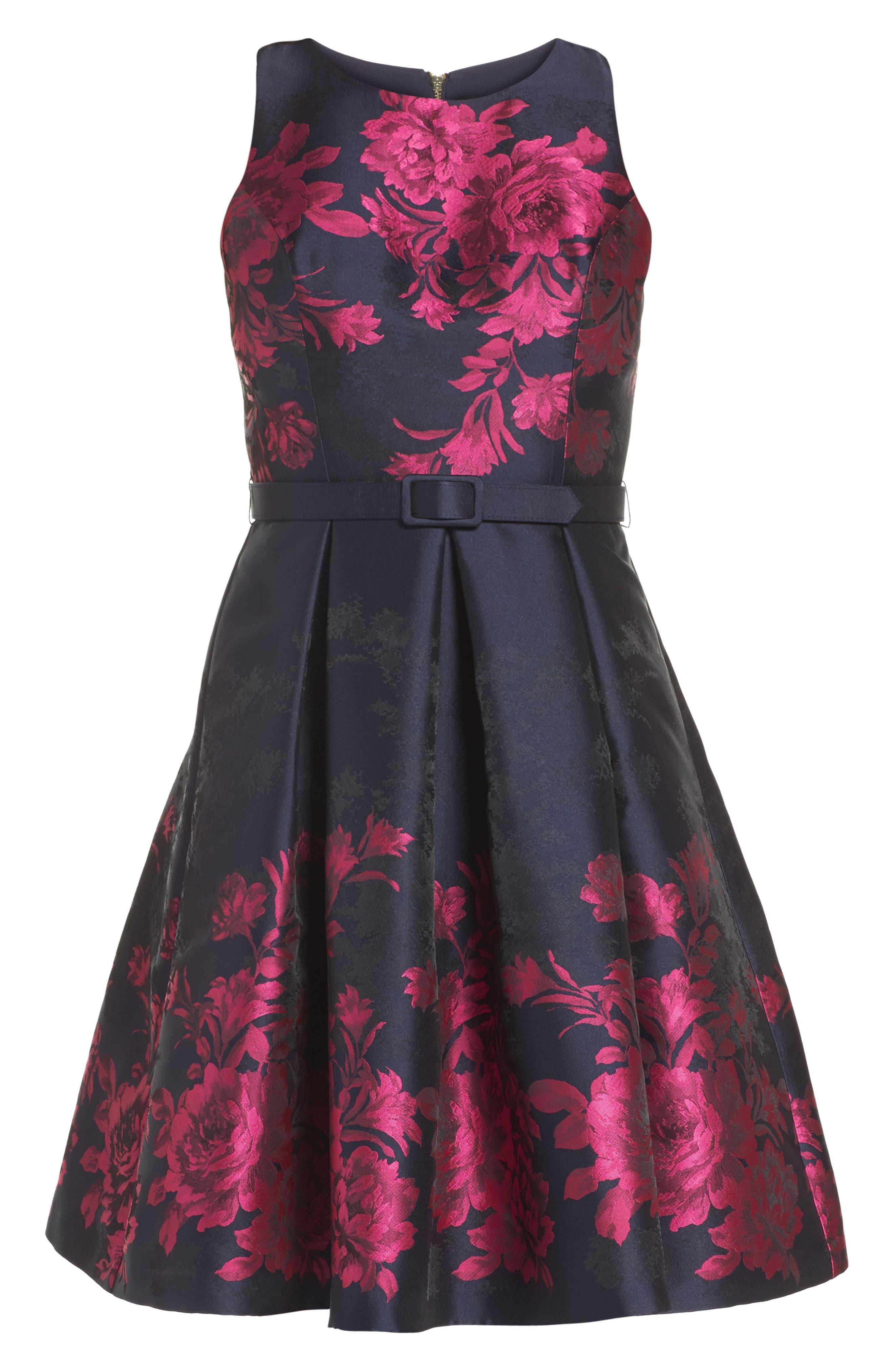 Floral Jacquard Fit & Flare Dress,                             Alternate thumbnail 6, color,