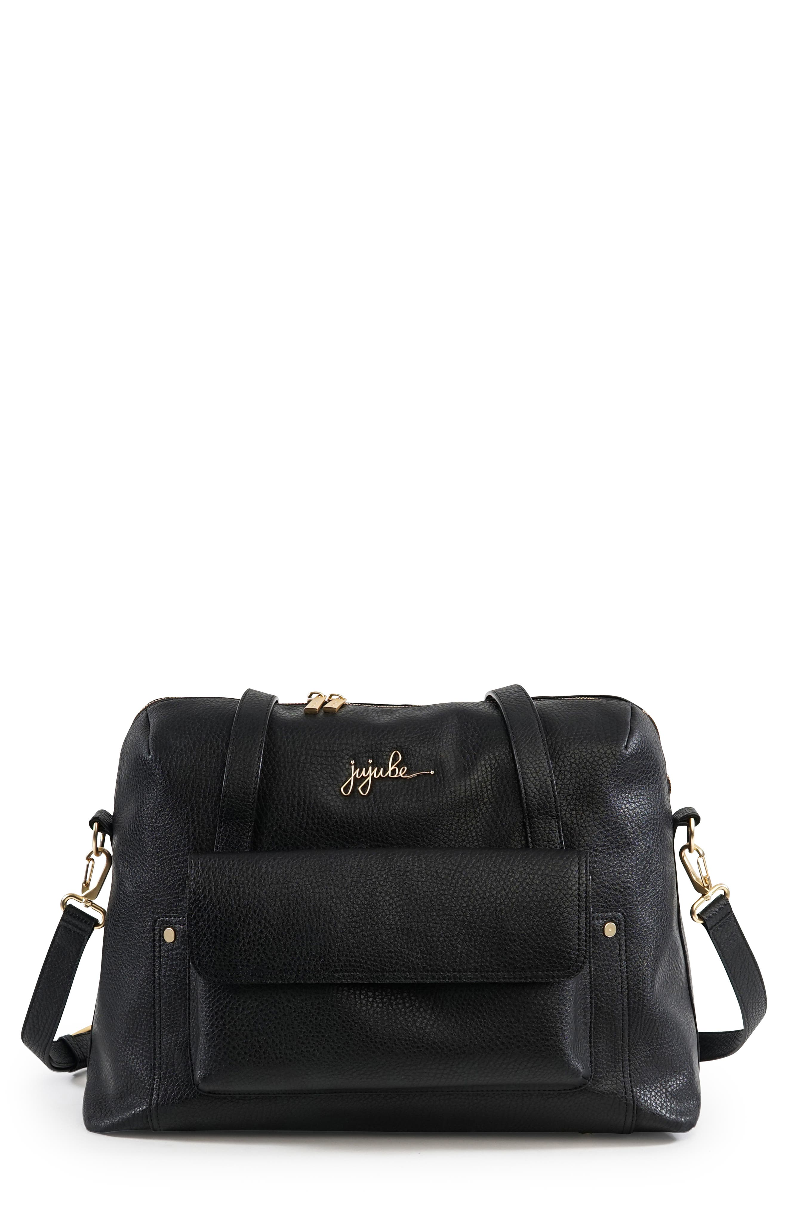 Ever Collection Wherever Faux Leather Weekend Diaper Bag,                         Main,                         color, NOIR
