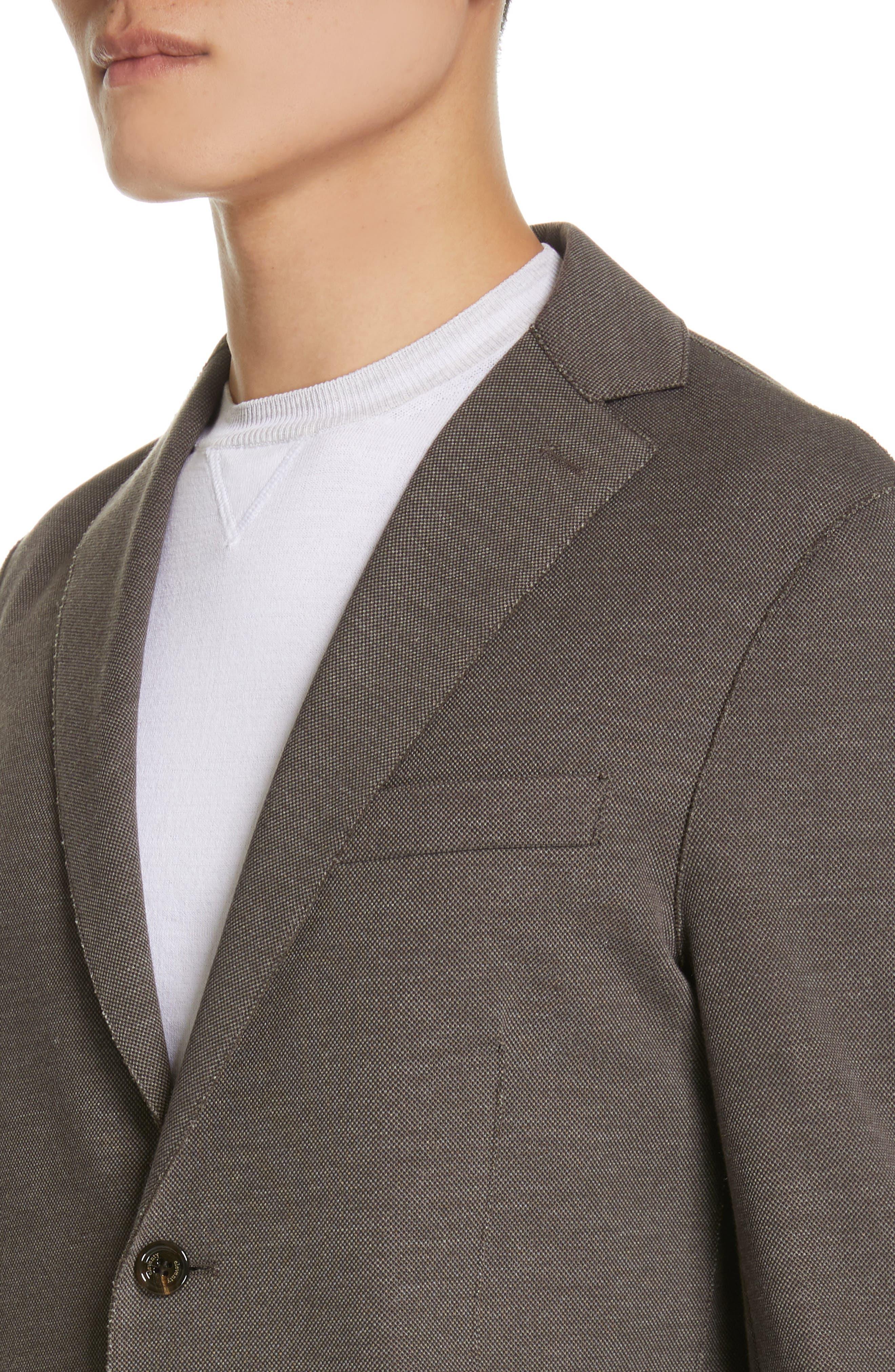 ELEVENTY,                             Trim Fit Jersey Sport Coat,                             Alternate thumbnail 4, color,                             BROWN
