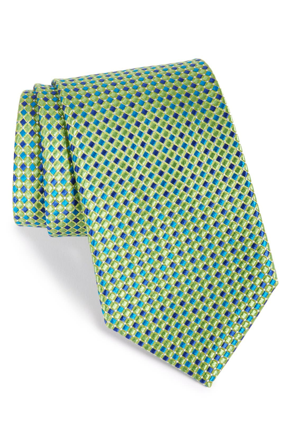 Geo Pattern Silk Tie,                             Main thumbnail 1, color,                             322