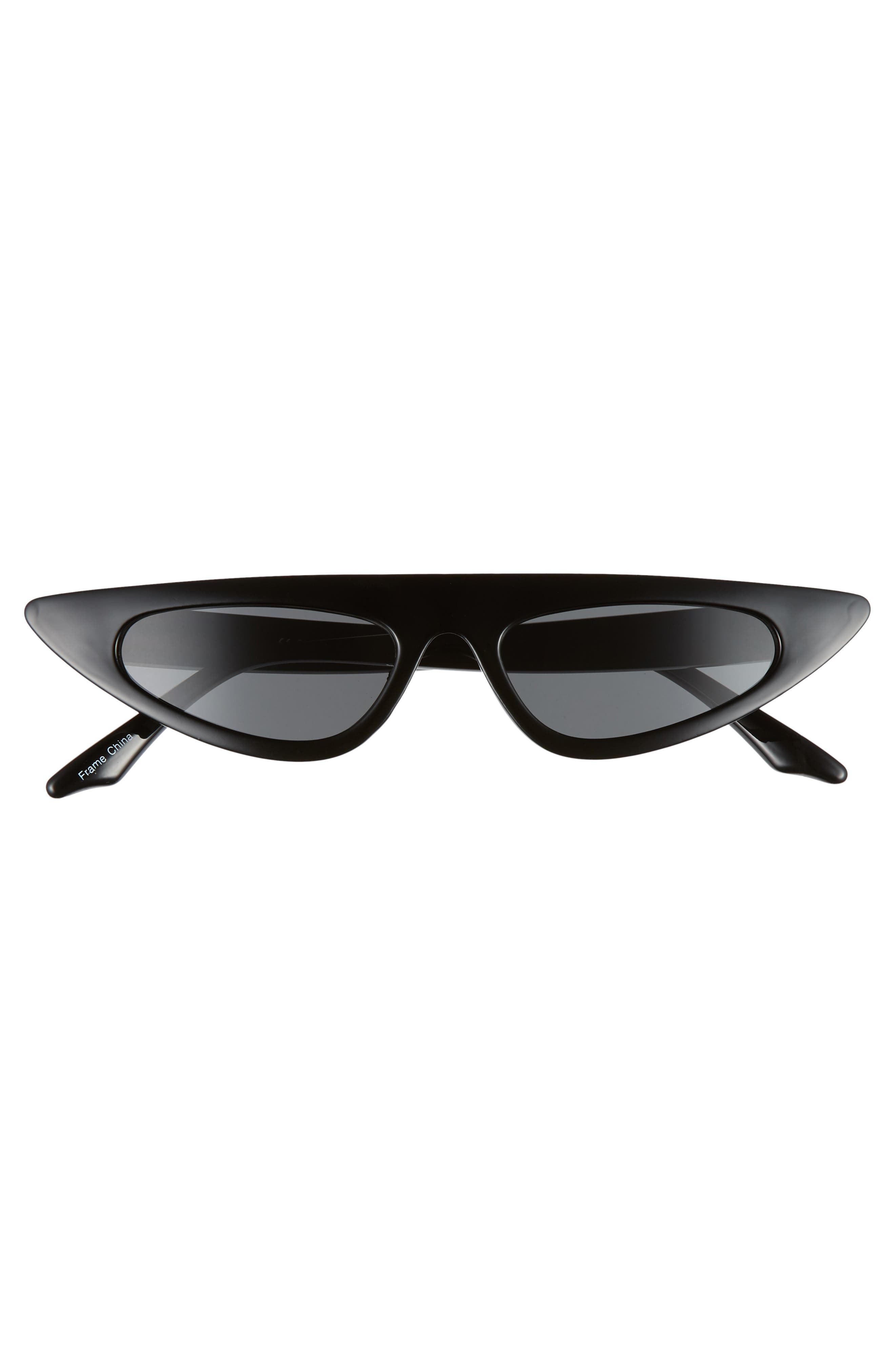 50mm Flat Top Cat Eye Sunglasses,                             Alternate thumbnail 3, color,                             BLACK