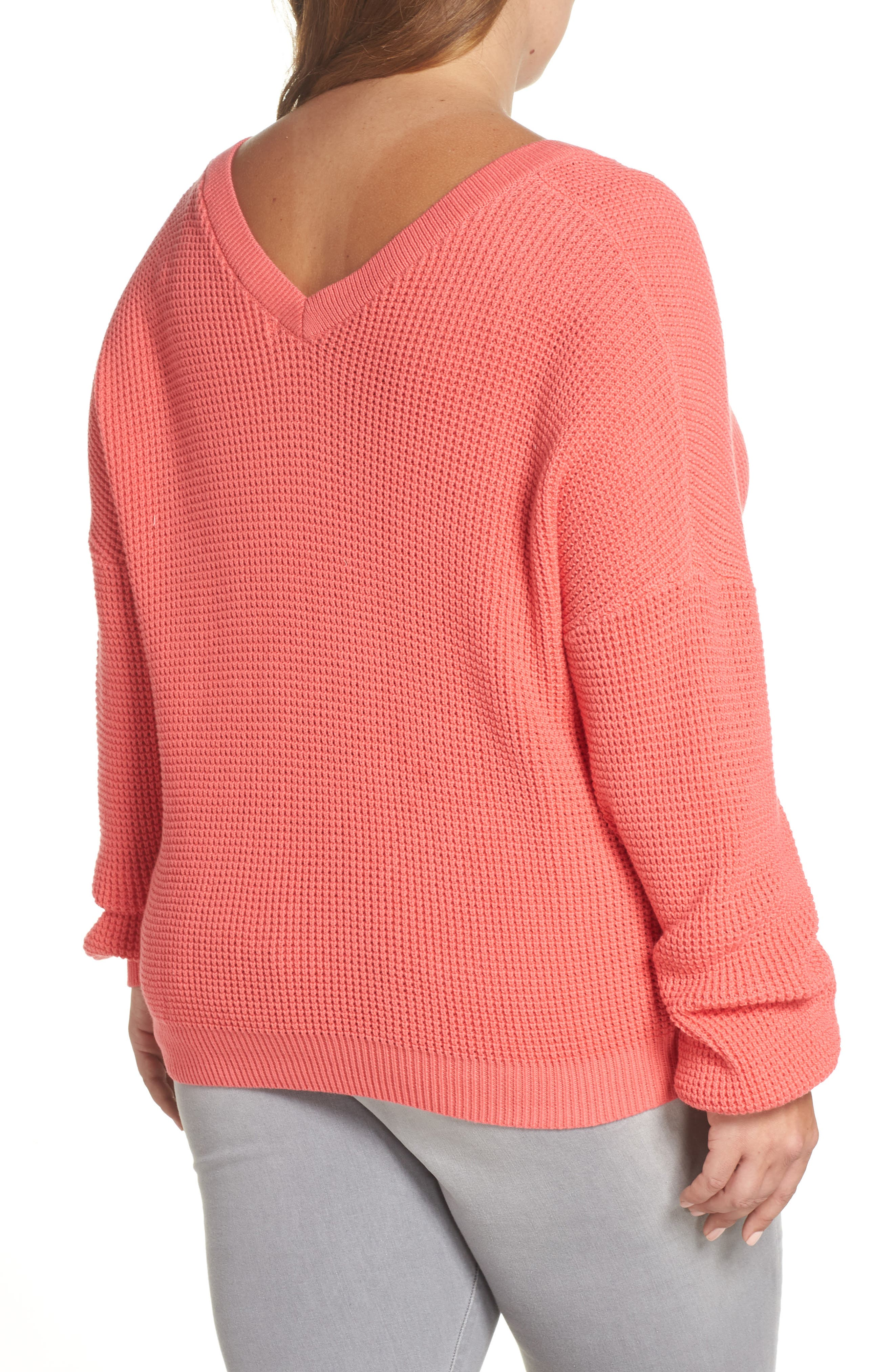 Twist Front Sweater,                             Alternate thumbnail 8, color,                             CORAL SUNKIST