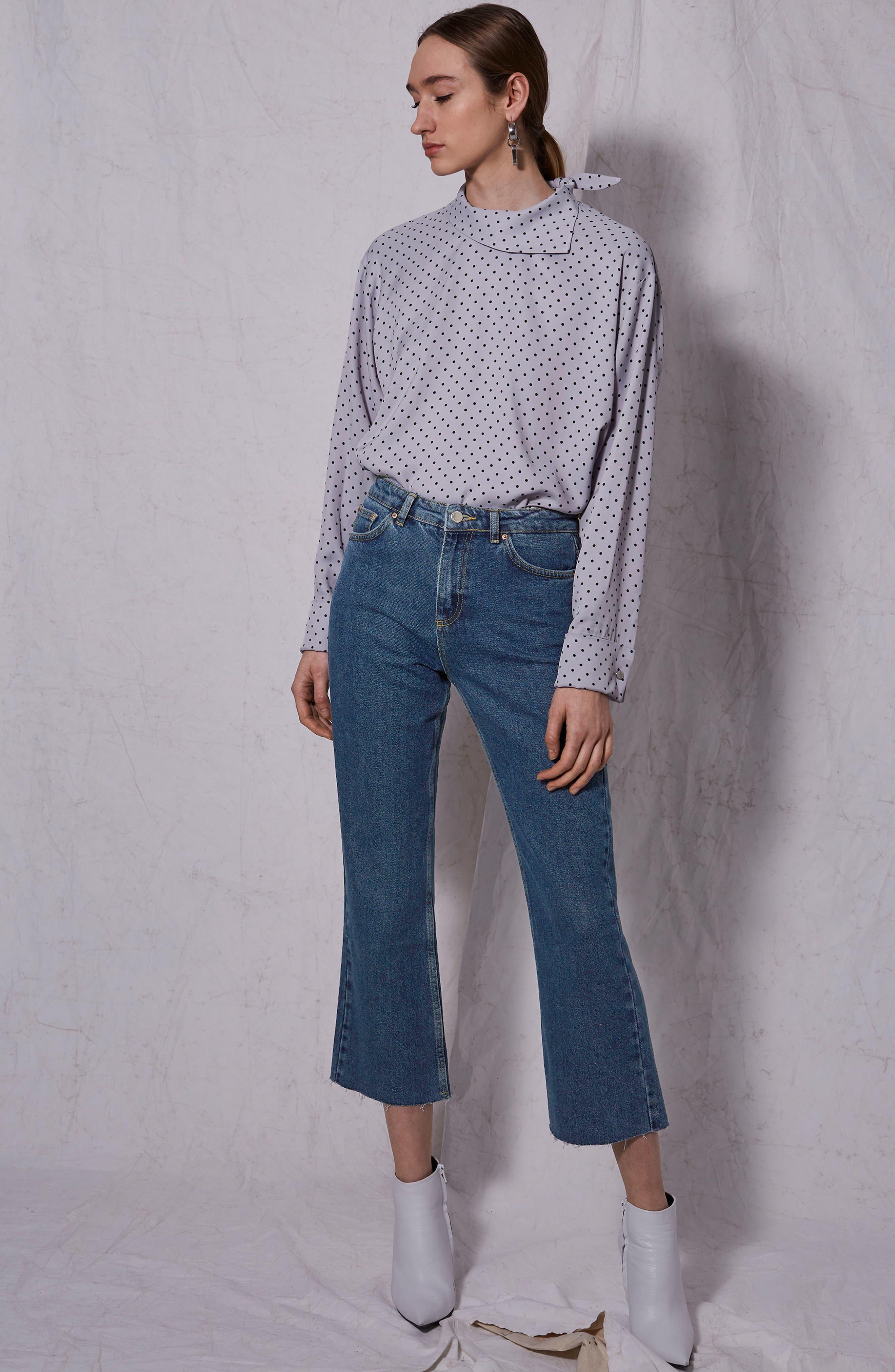 Raw Hem Kick Flare Jeans,                             Alternate thumbnail 4, color,                             003