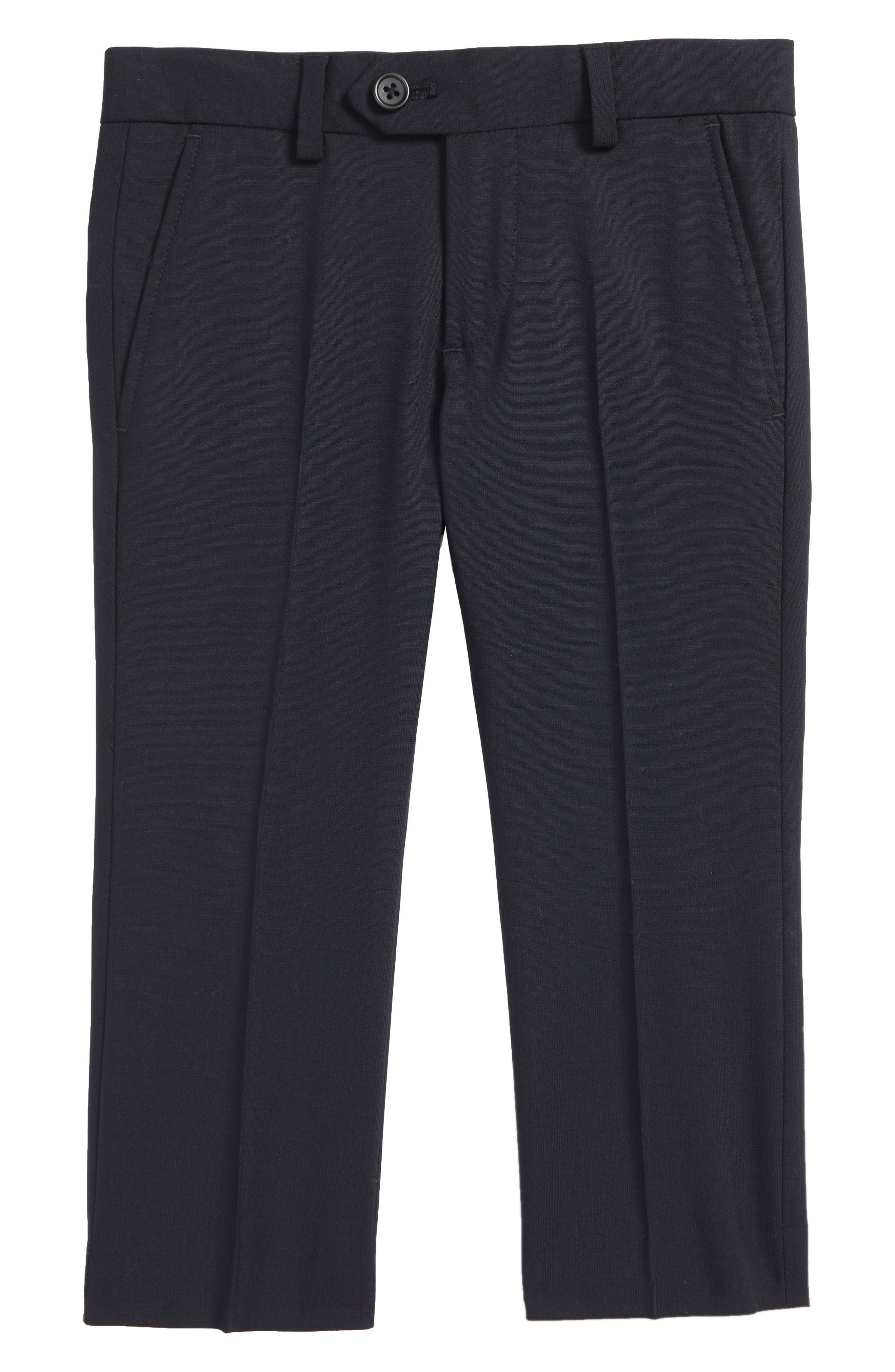 Solid Flat Front Wool Blend Trousers,                         Main,                         color, BLACK
