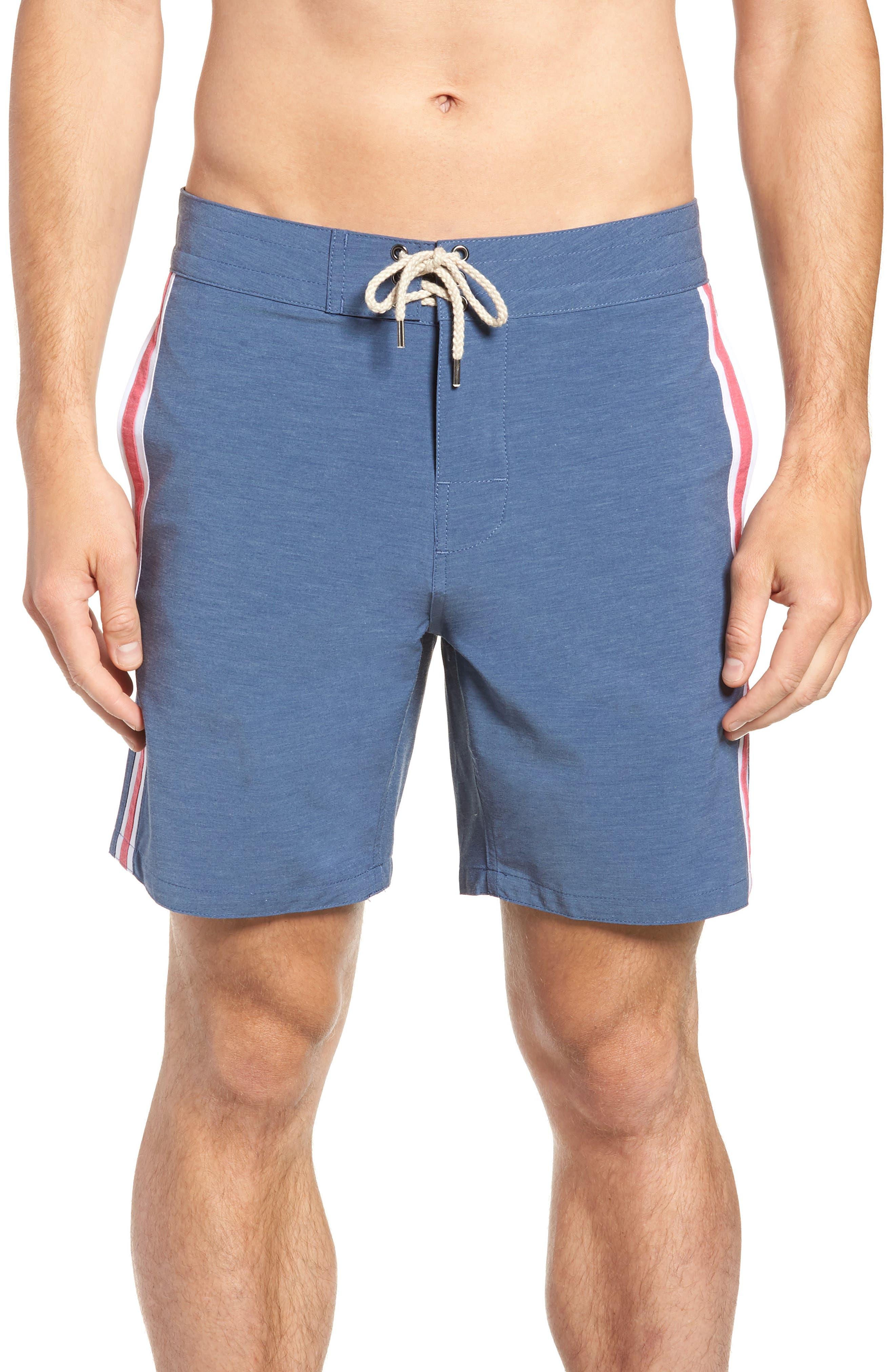 Retro Surf Stripe Board Shorts,                         Main,                         color, BLUE RED WHITE