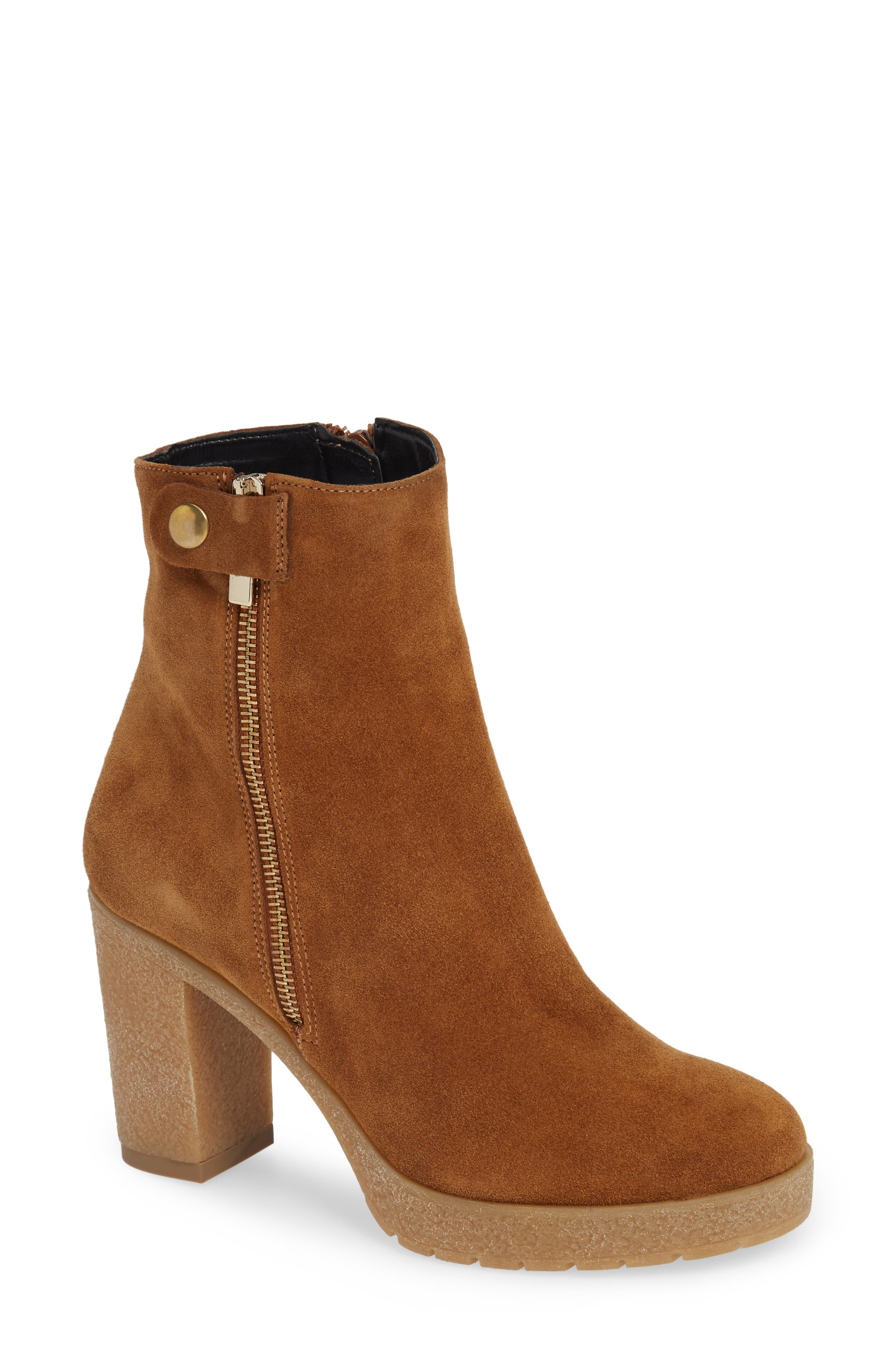 AMALFI BY RANGONI Lupetto Side Zip Bootie in Cognac Suede