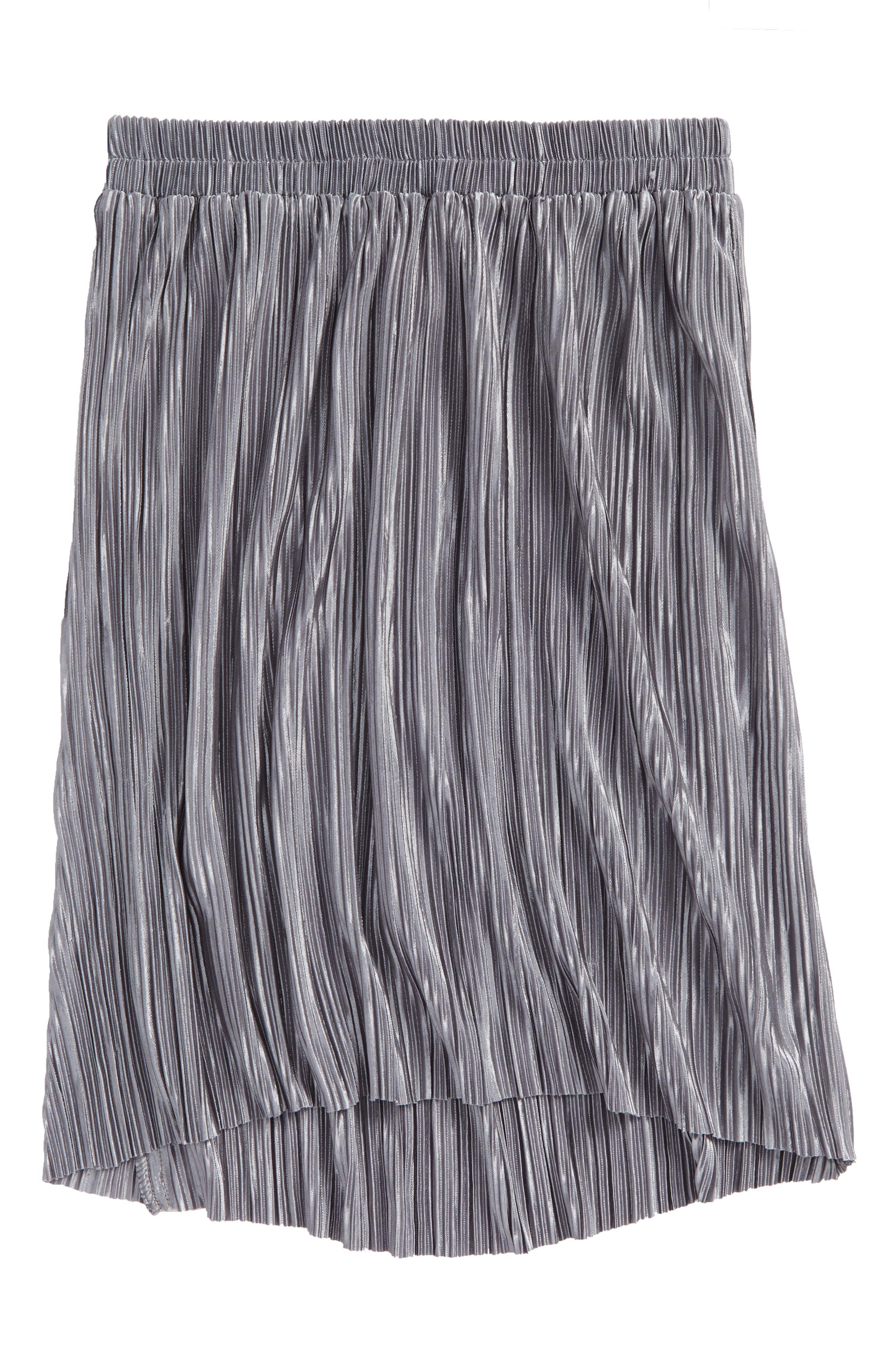 Pleated Metallic Skirt,                         Main,                         color,