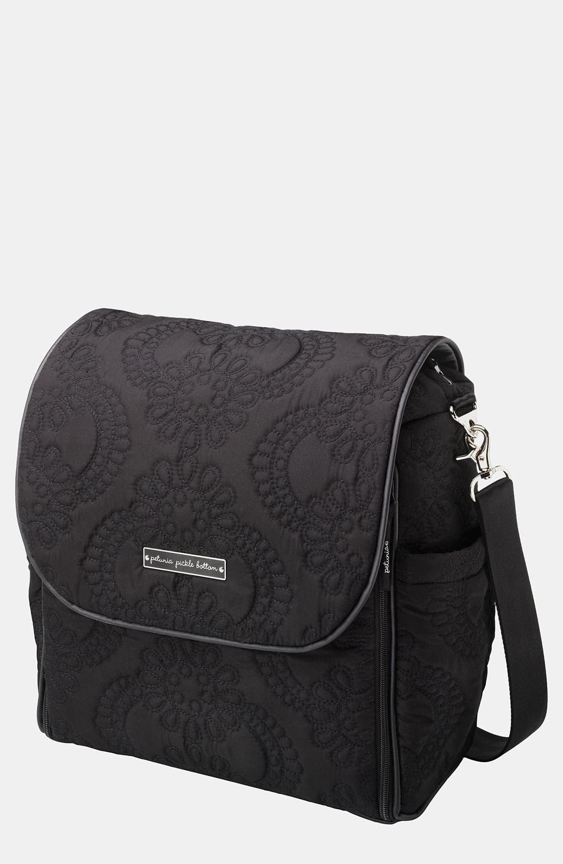 PETUNIA PICKLE BOTTOM,                             'Embossed Boxy' Magnetic Closure Backpack Diaper Bag,                             Main thumbnail 1, color,                             001