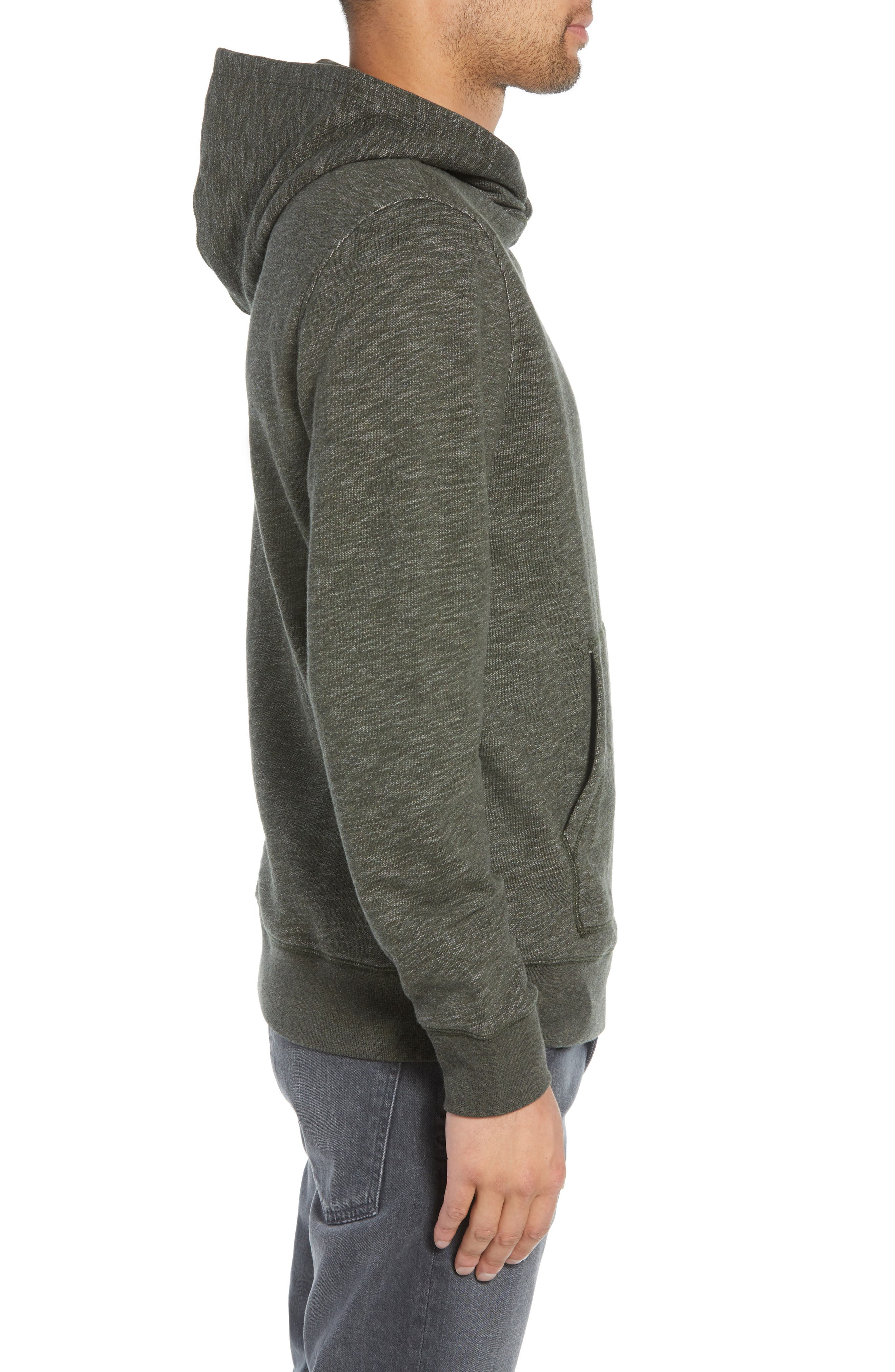 Regular Fit French Terry Pullover Hoodie,                             Alternate thumbnail 3, color,                             OLIVE DARK HEATHER