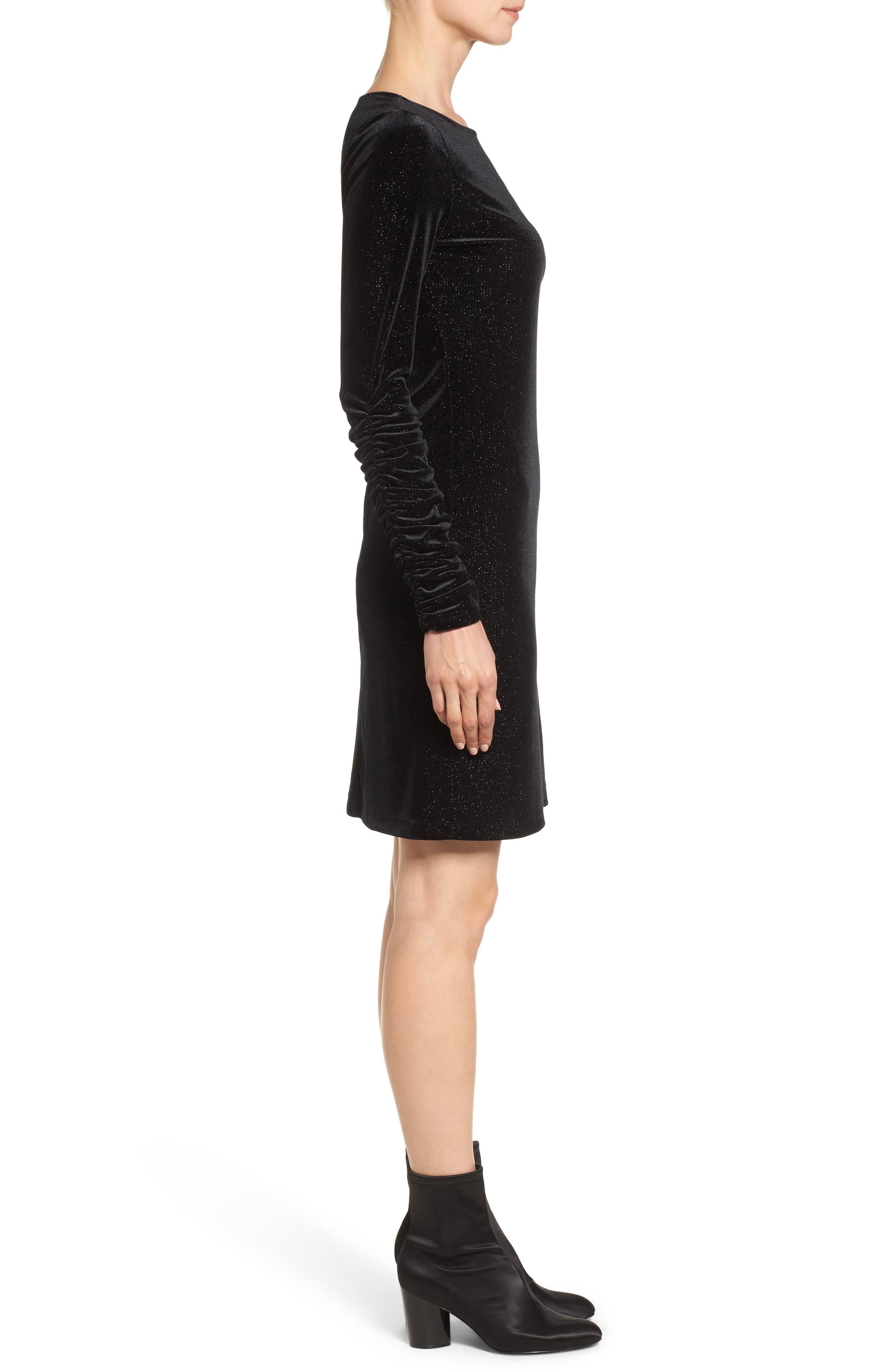Ruched Sleeve Sparkle Velvet Dress,                             Alternate thumbnail 4, color,                             006