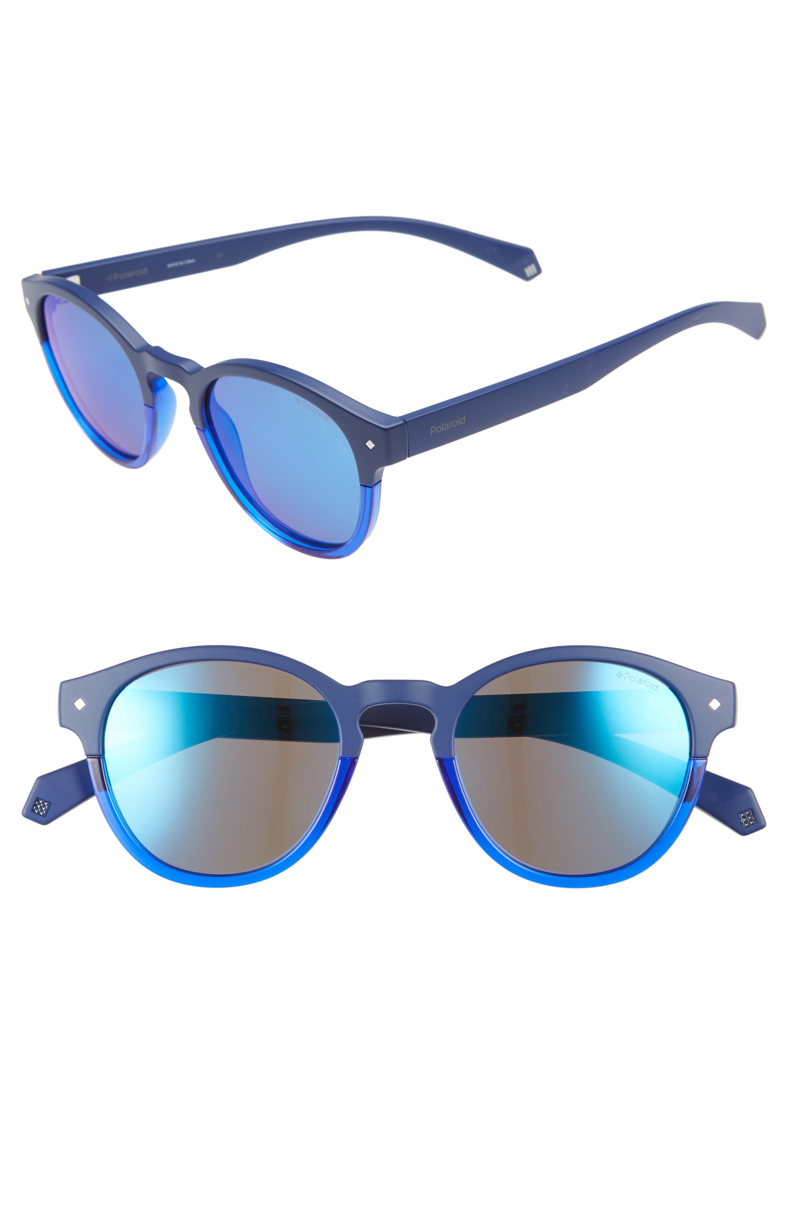 Polaroid 4m Polarized Round Sunglasses - Blue