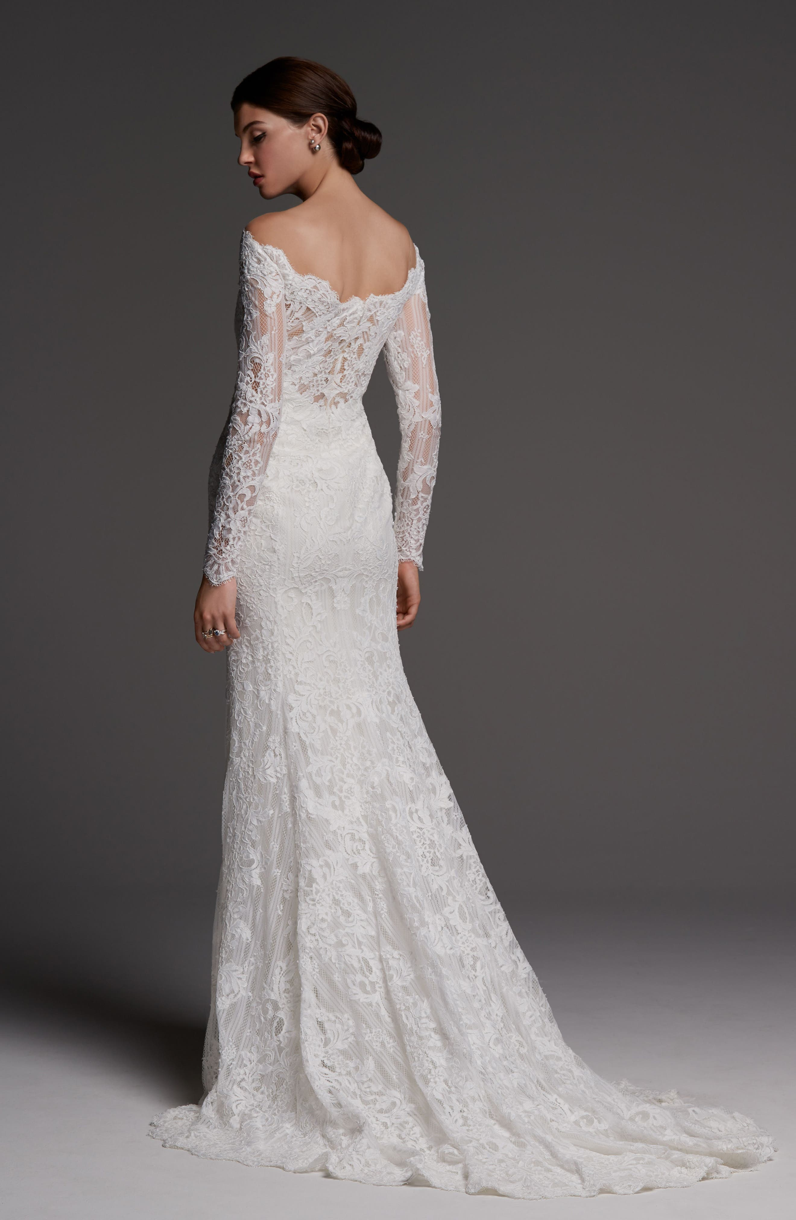 WATTERS,                             Visconti Long Sleeve Lace Gown,                             Alternate thumbnail 2, color,                             IVORY/ OYSTER