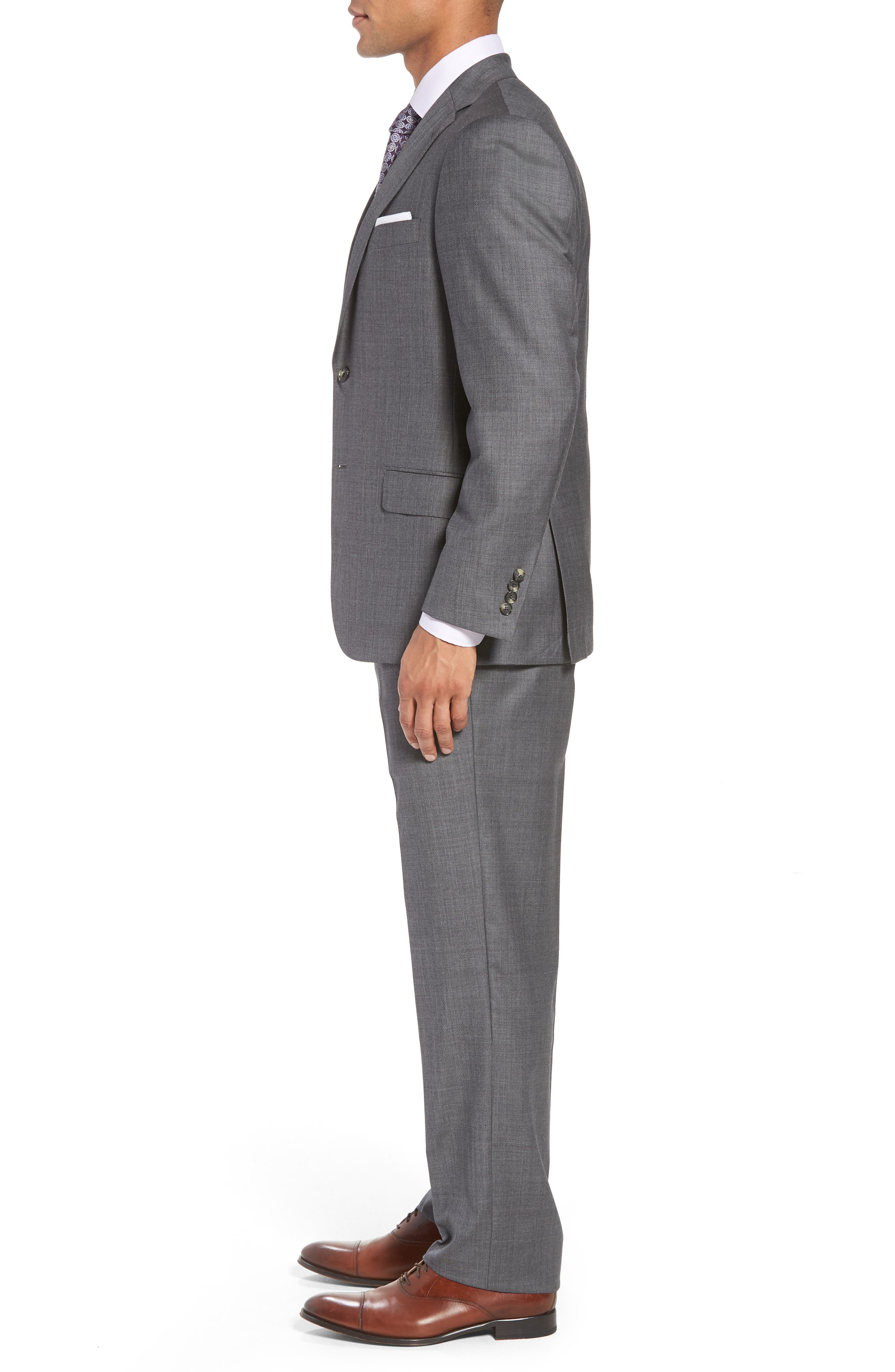 HICKEY FREEMAN,                             Classic B Fit Solid Wool Suit,                             Alternate thumbnail 3, color,                             020