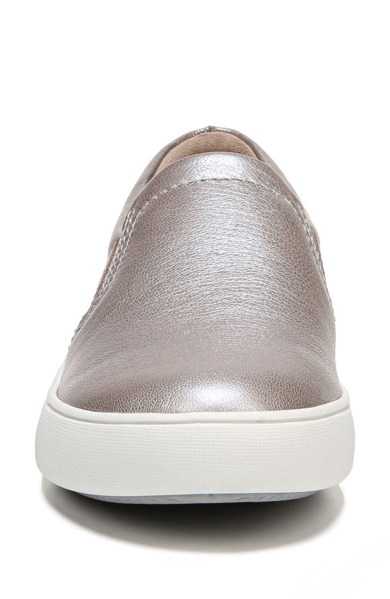 Marianne Slip-On Sneaker,                             Alternate thumbnail 4, color,                             SILVER LEATHER