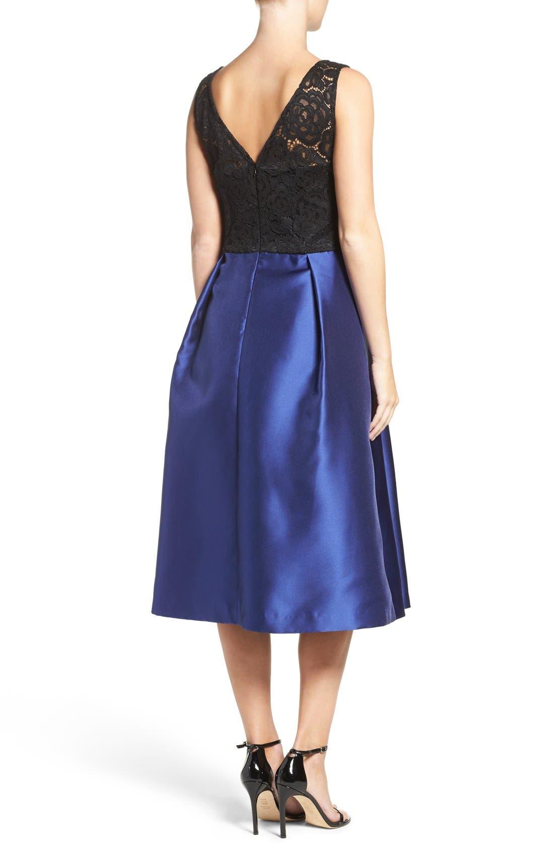 Lace Bodice Midi Dress,                             Alternate thumbnail 3, color,                             414
