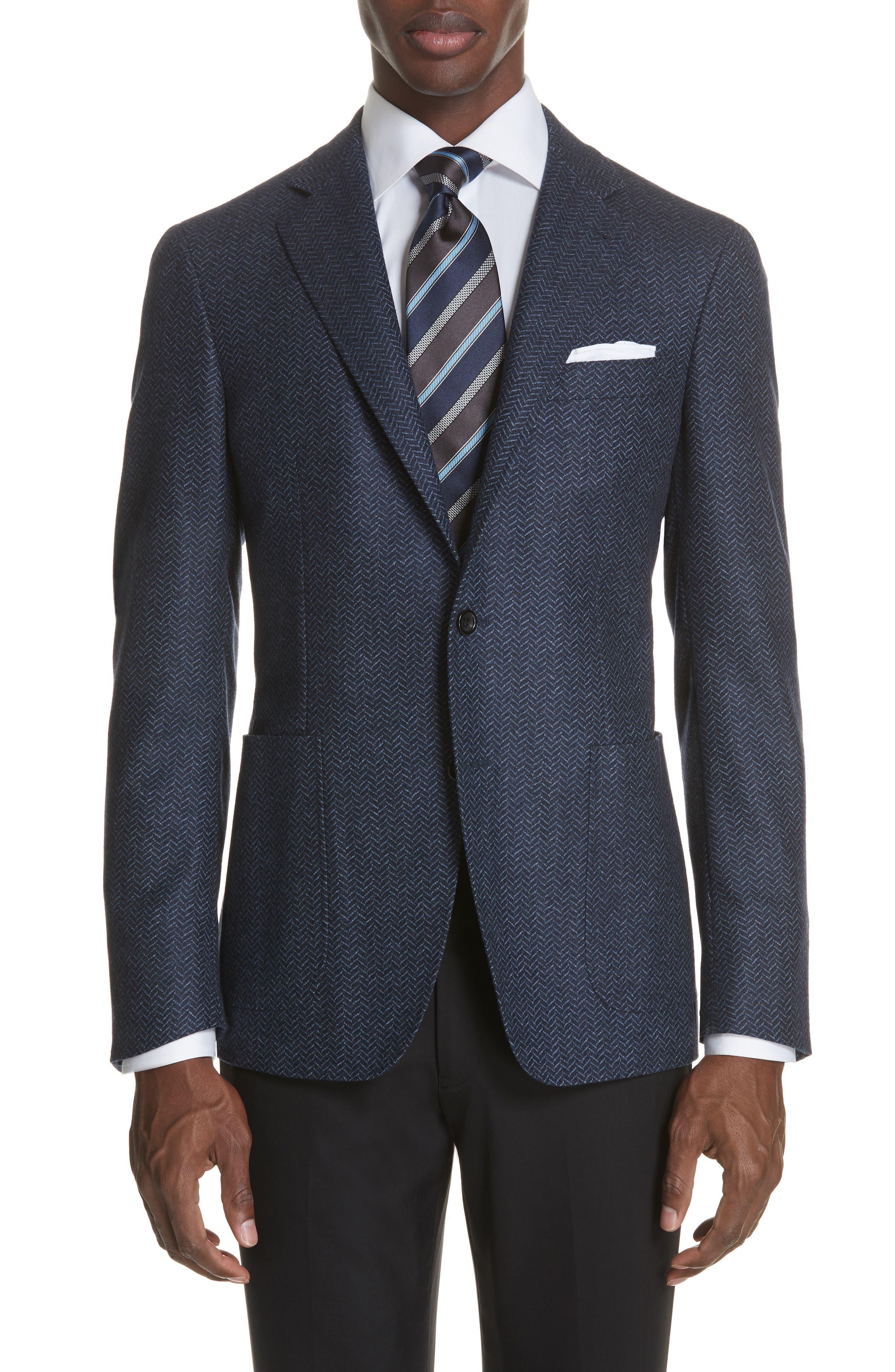 Classic Fit Herringbone Wool Sport Coat,                             Main thumbnail 1, color,                             DARK BLUE