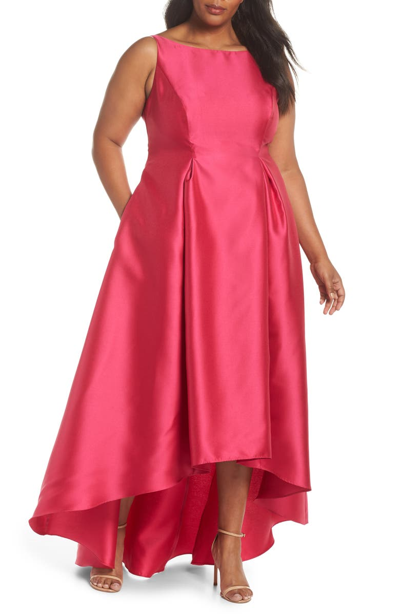 Adrianna Papell Arcadia Sleeveless High/Low Mikado Ballgown (Plus ...