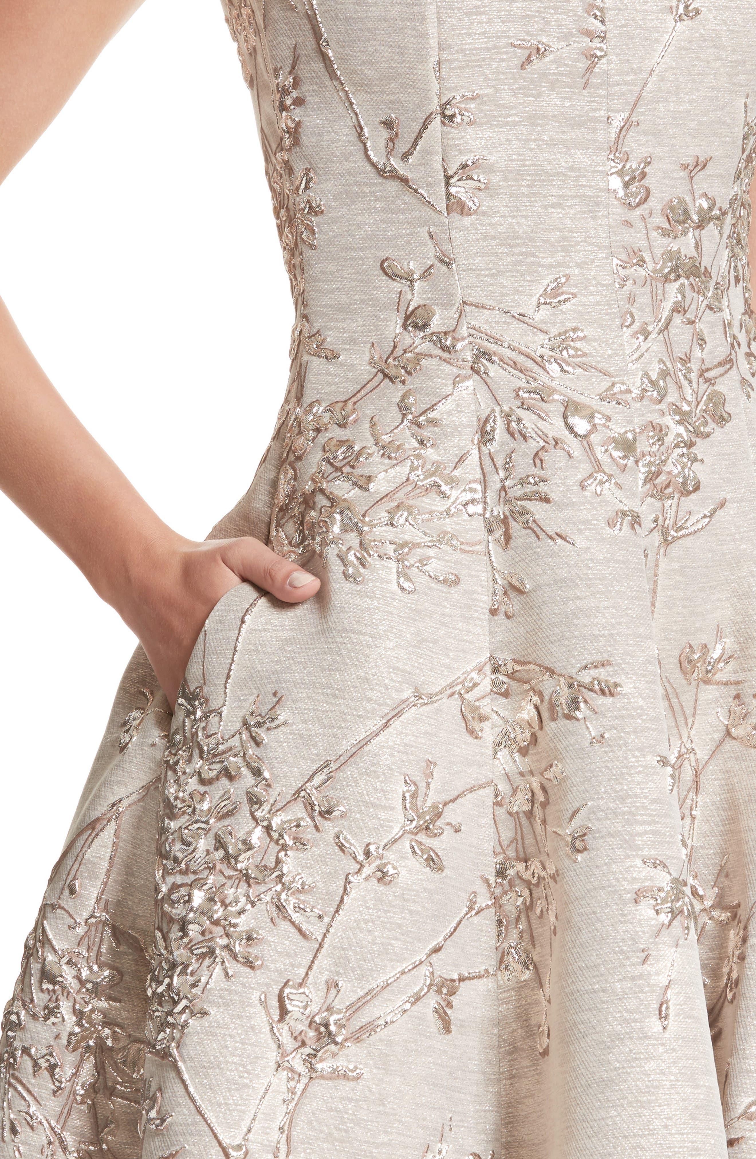Metallic Twig Jacquard Dress,                             Alternate thumbnail 4, color,                             PLATIN