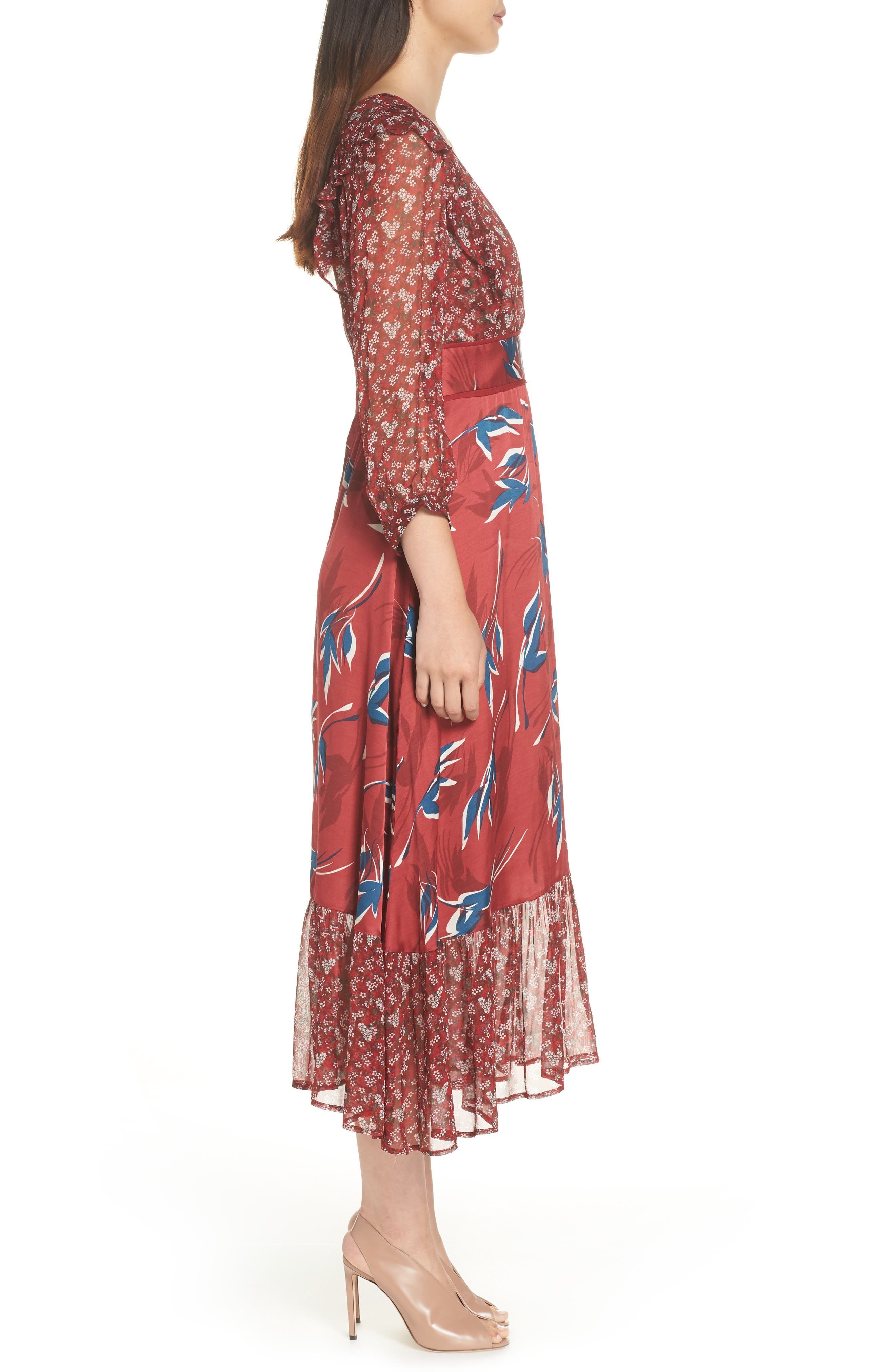 Mixed Print Midi Dress,                             Alternate thumbnail 3, color,                             RED MULTI