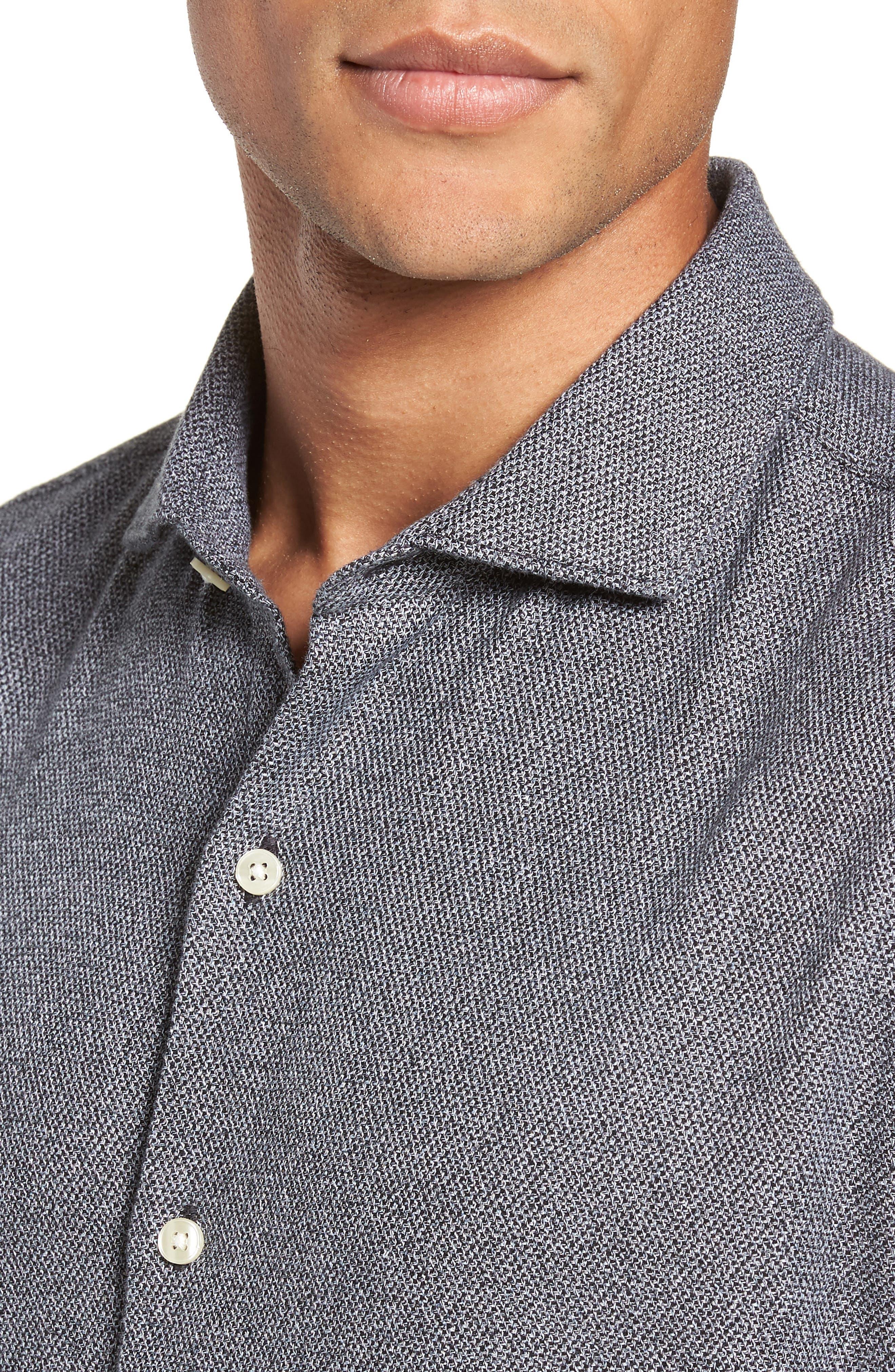 Unbutton Slim Fit Sport Shirt,                             Alternate thumbnail 2, color,                             JASPE TEXTURE - STERLING