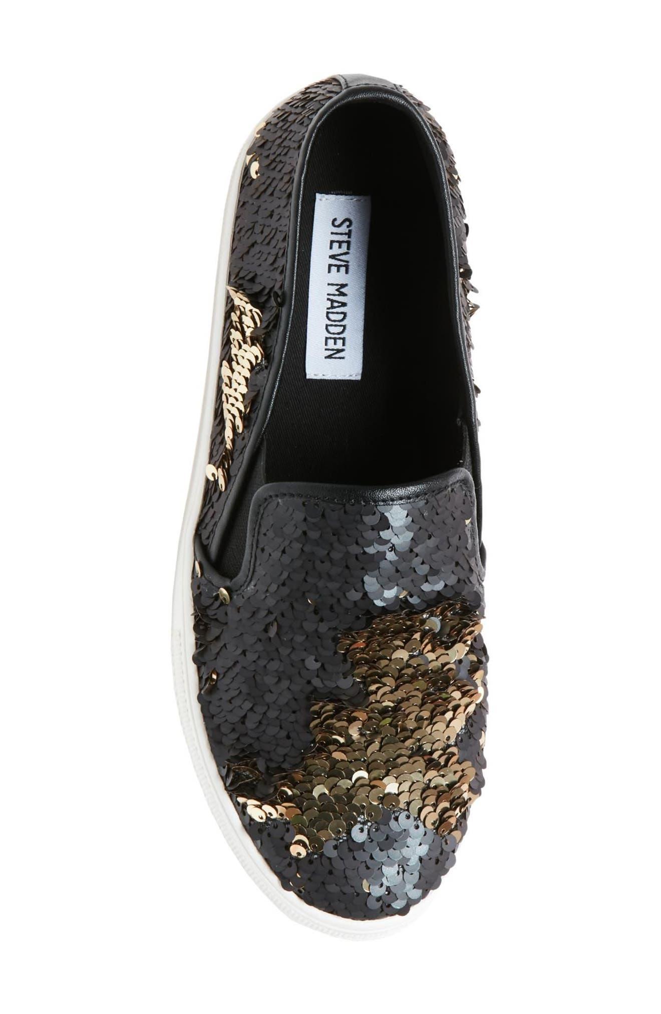 Gills Sequined Slip-On Platform Sneaker,                             Alternate thumbnail 5, color,                             001