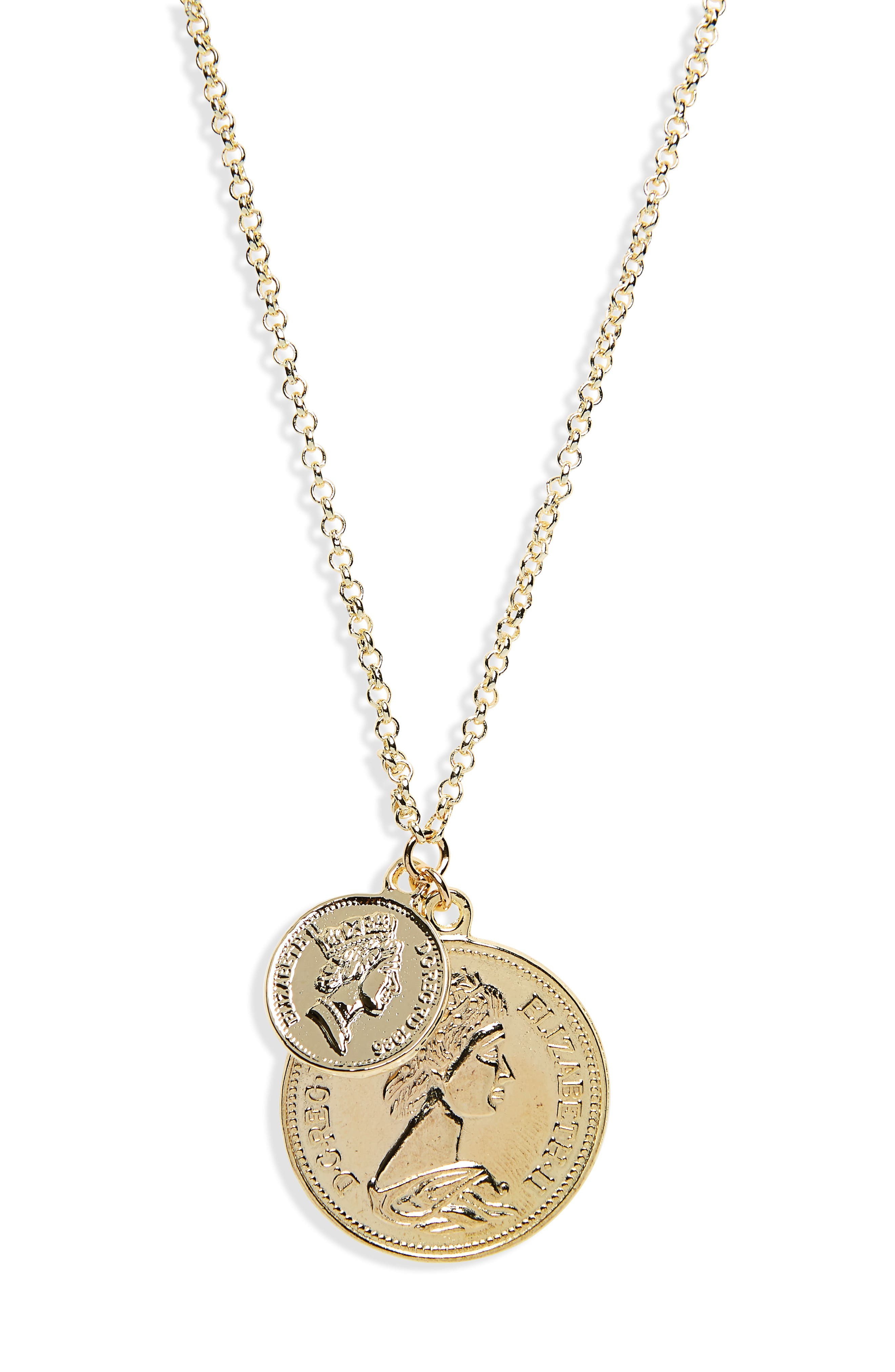 Double Coin Pendant Necklace,                             Main thumbnail 1, color,                             YELLOW GOLD