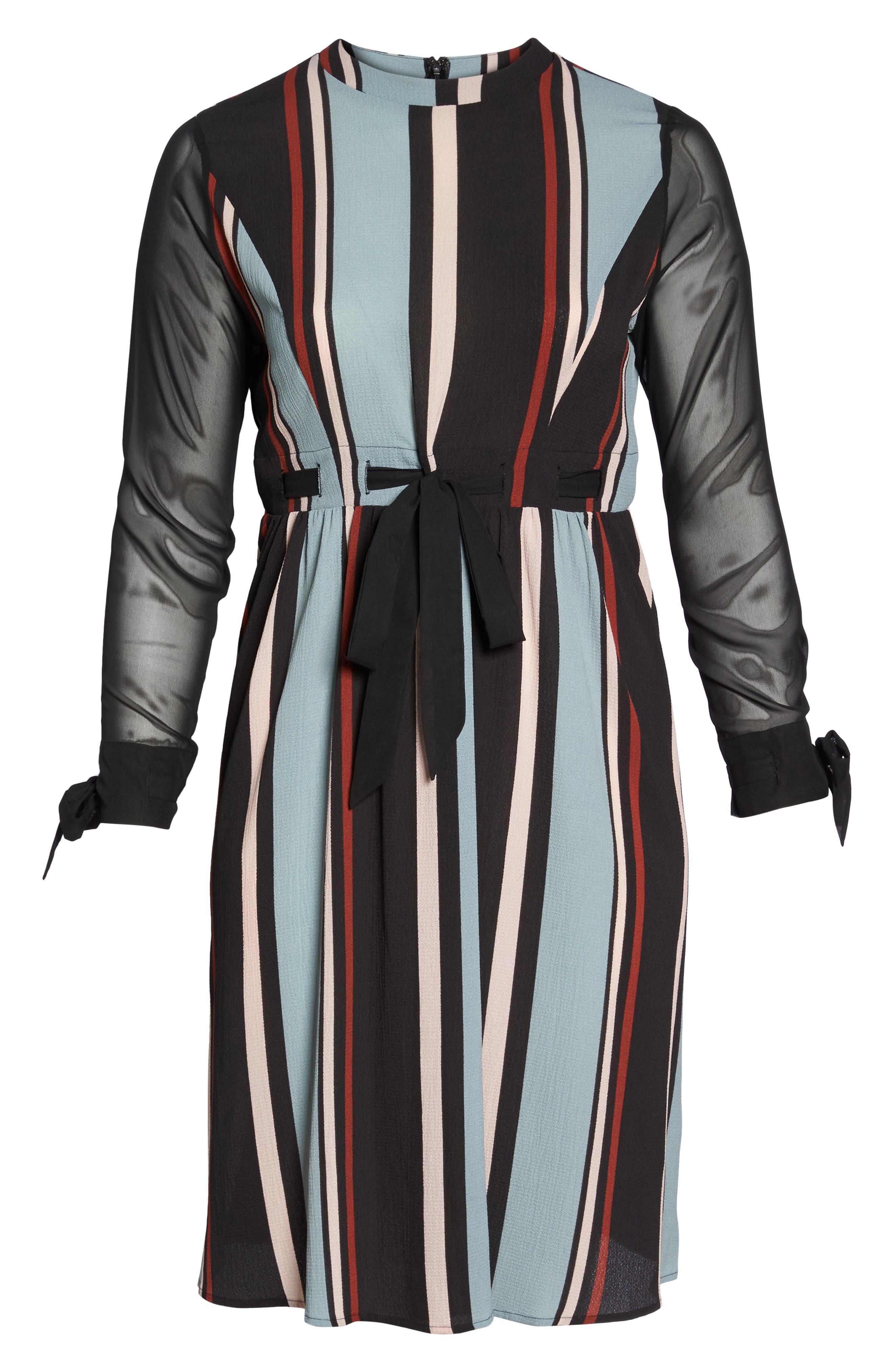 Stripe Fit & Flare Dress,                             Alternate thumbnail 6, color,                             001
