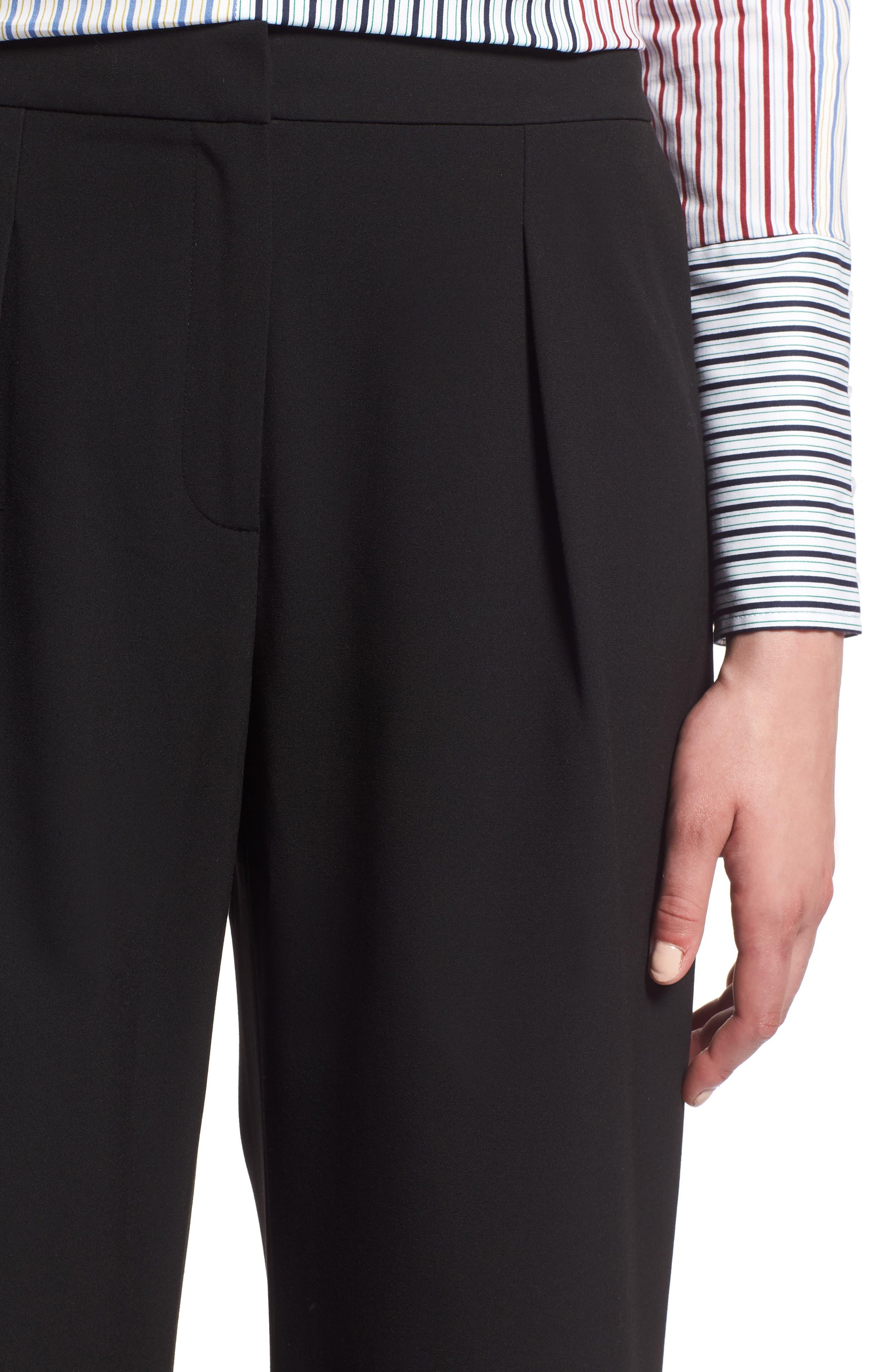 High Waist Wide Leg Pants,                             Alternate thumbnail 4, color,                             001