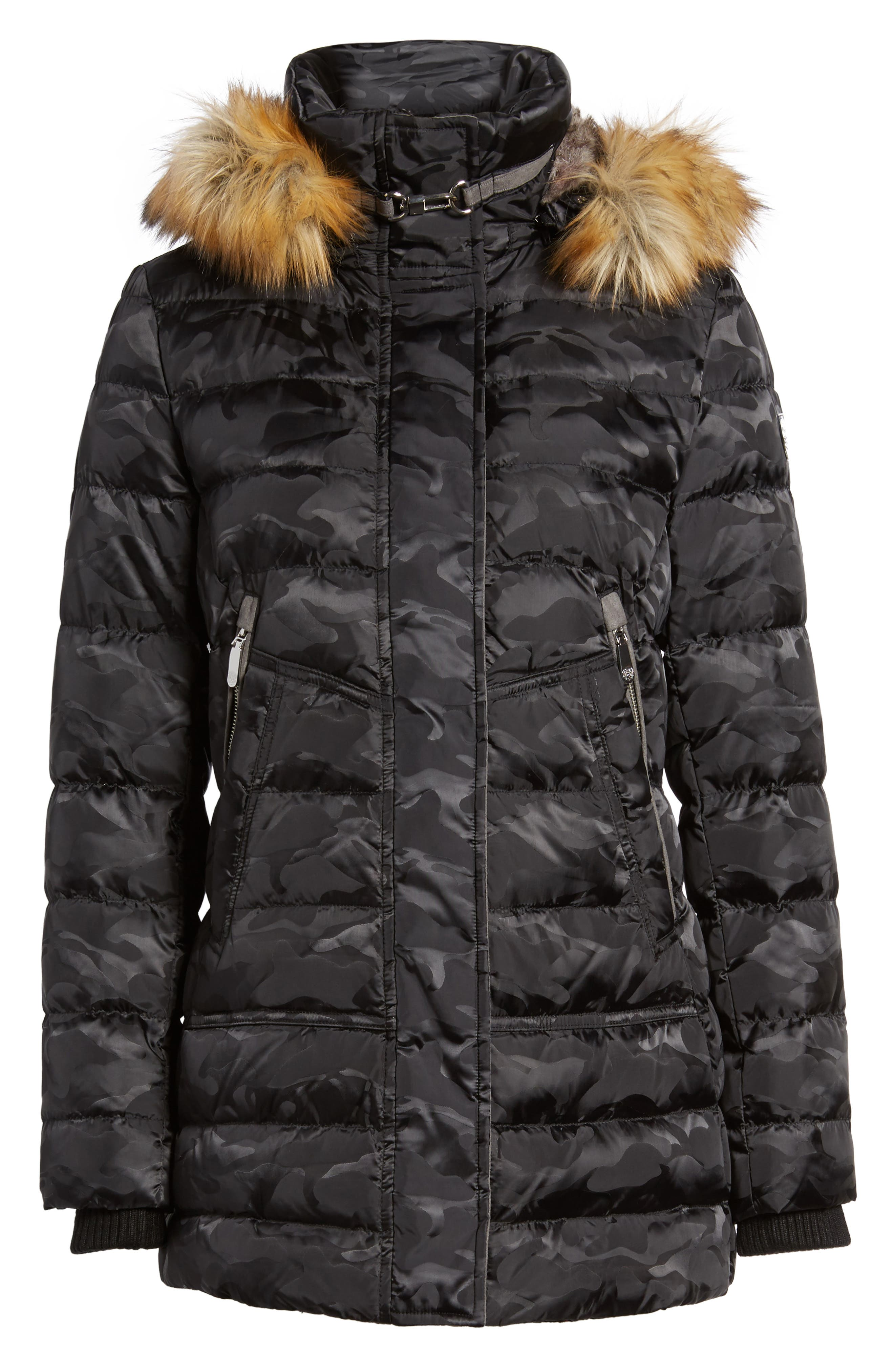 Quilted Coat with Faux Fur Trim Hood,                             Alternate thumbnail 5, color,                             016
