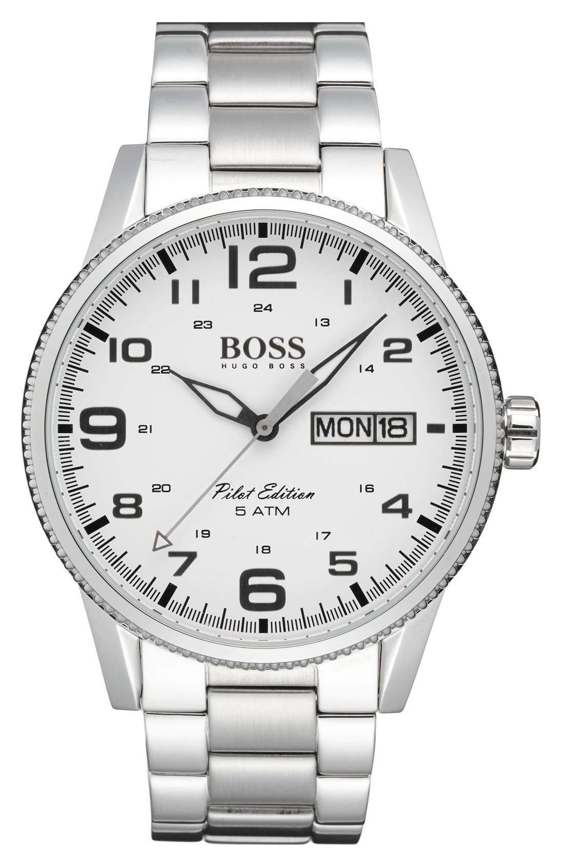 BOSS 'Pilot' Watch, 44mm,                         Main,                         color, 040