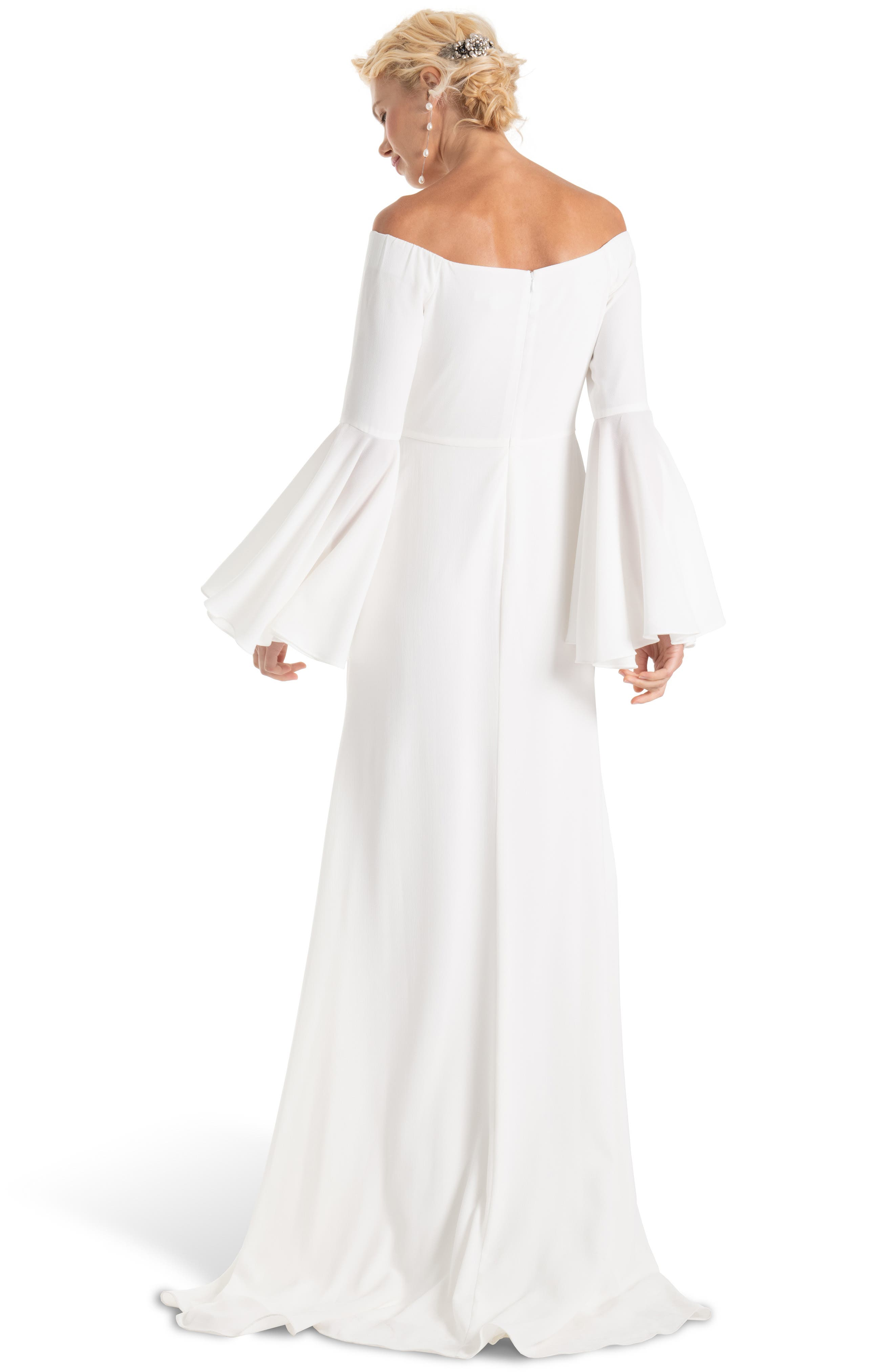 Bowie Off the Shoulder Bell Sleeve Gown,                             Alternate thumbnail 2, color,                             100