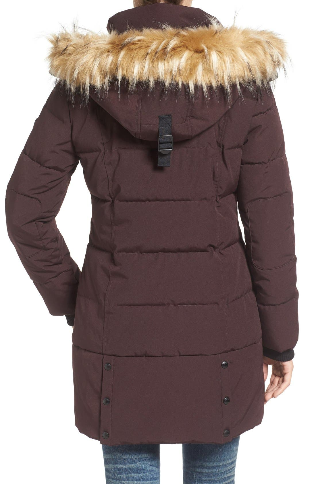 'Expedition' Quilted Parka with Faux Fur Trim,                             Alternate thumbnail 10, color,