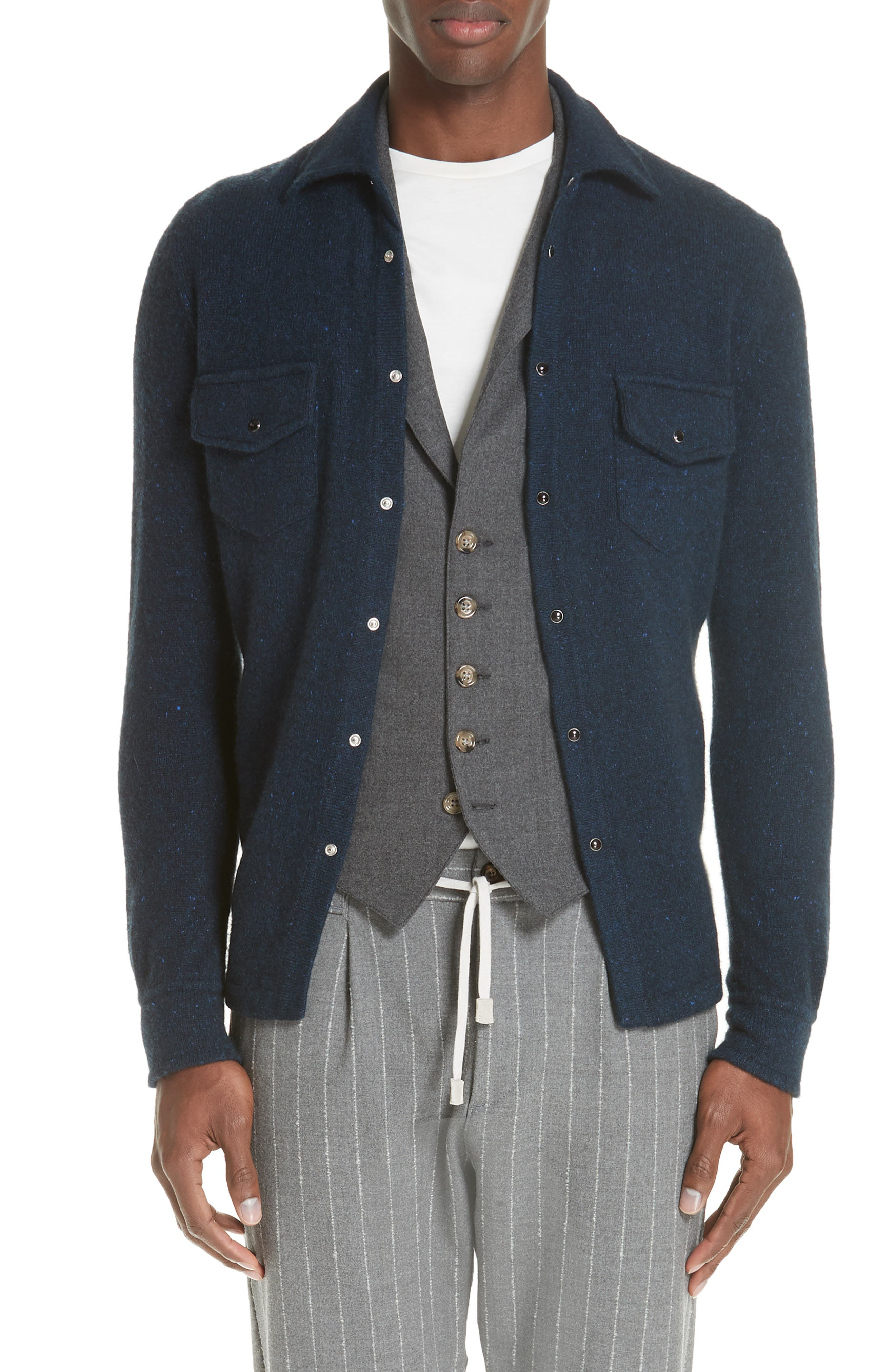 Cashmere Overshirt,                         Main,                         color, NAVY
