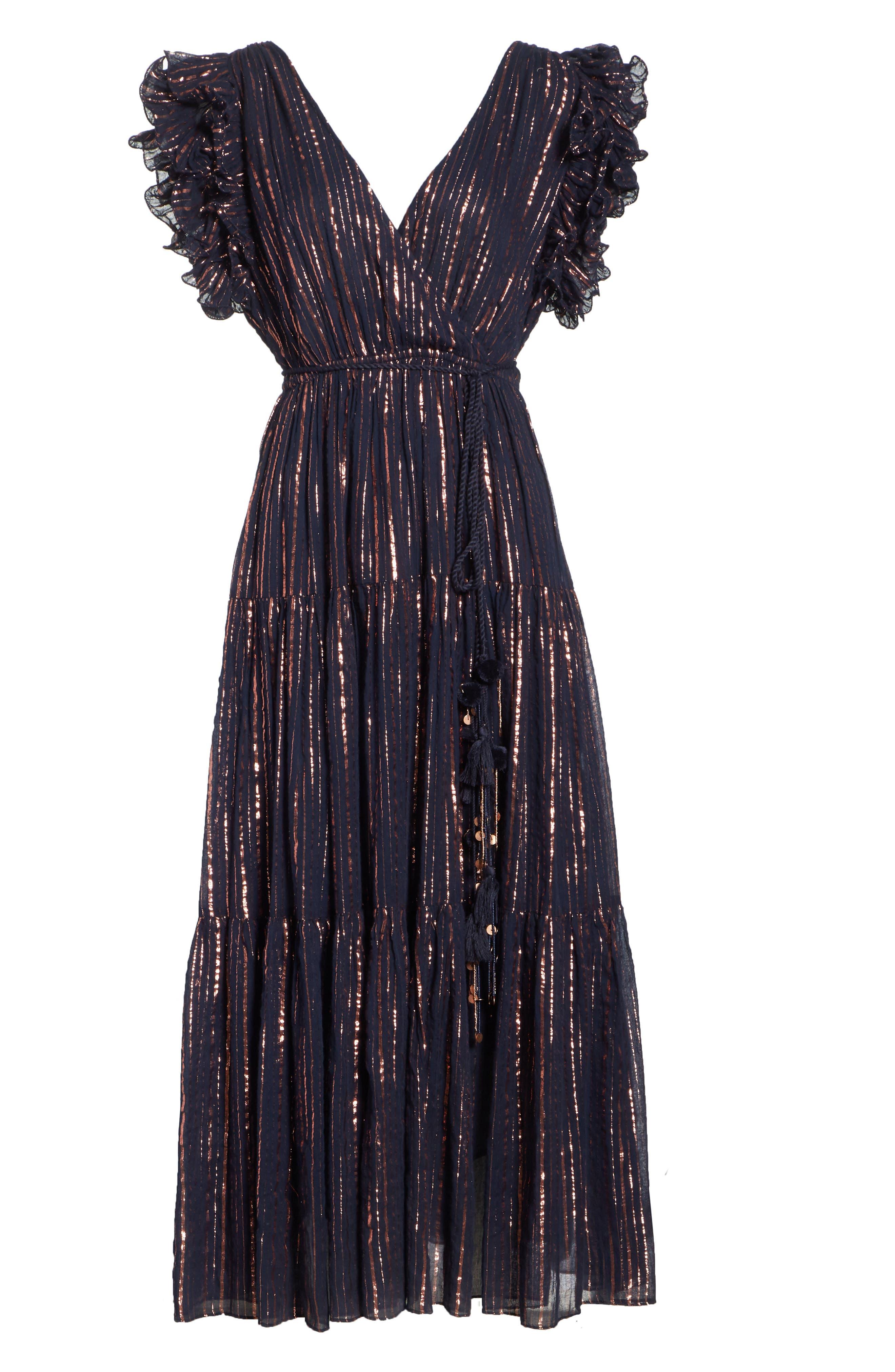 ULLA JOHNSON,                             Liliana Metallic Stripe Dress,                             Alternate thumbnail 6, color,                             400