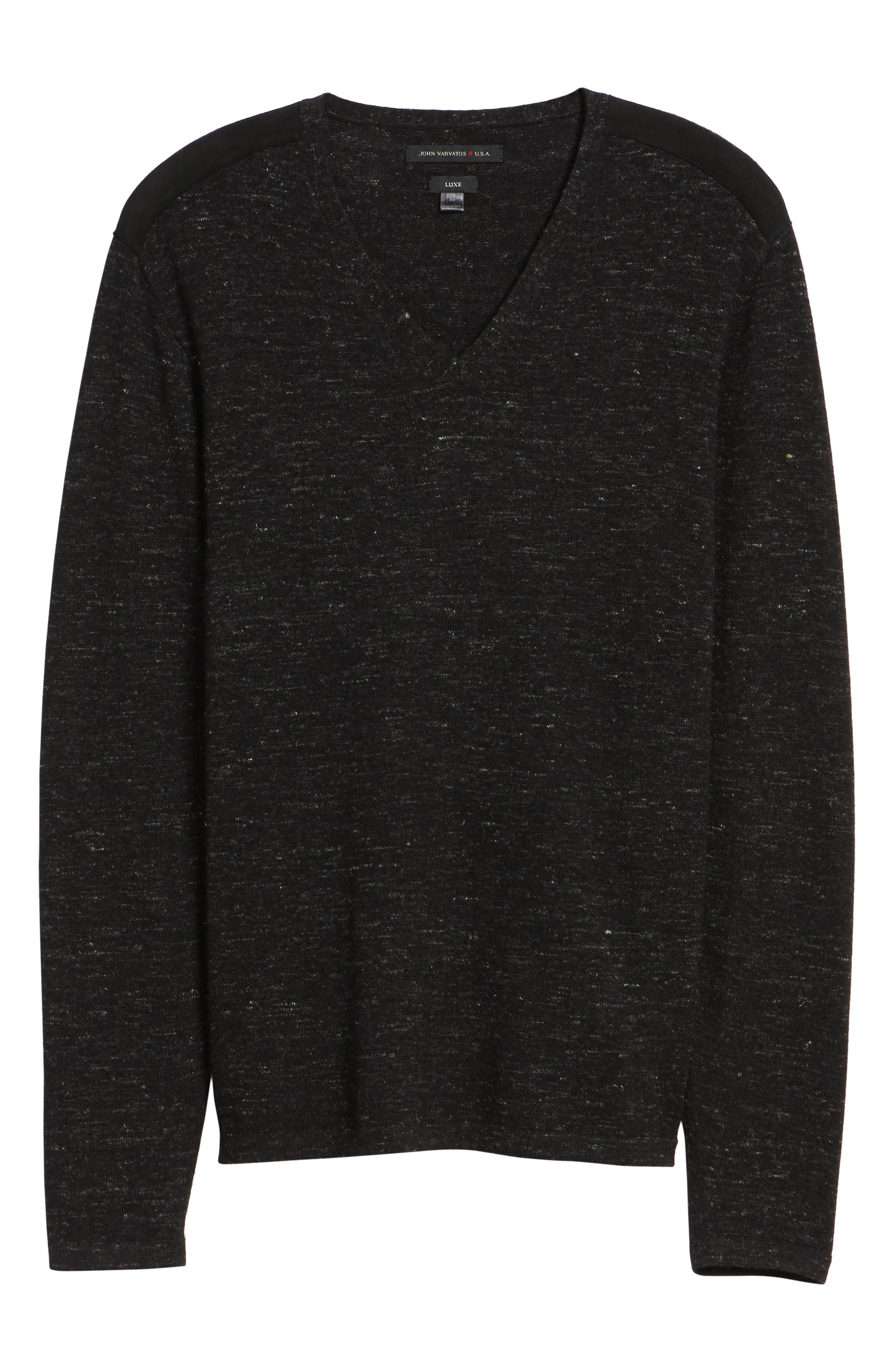 Long Sleeve V-Neck Sweater,                             Alternate thumbnail 6, color,                             001