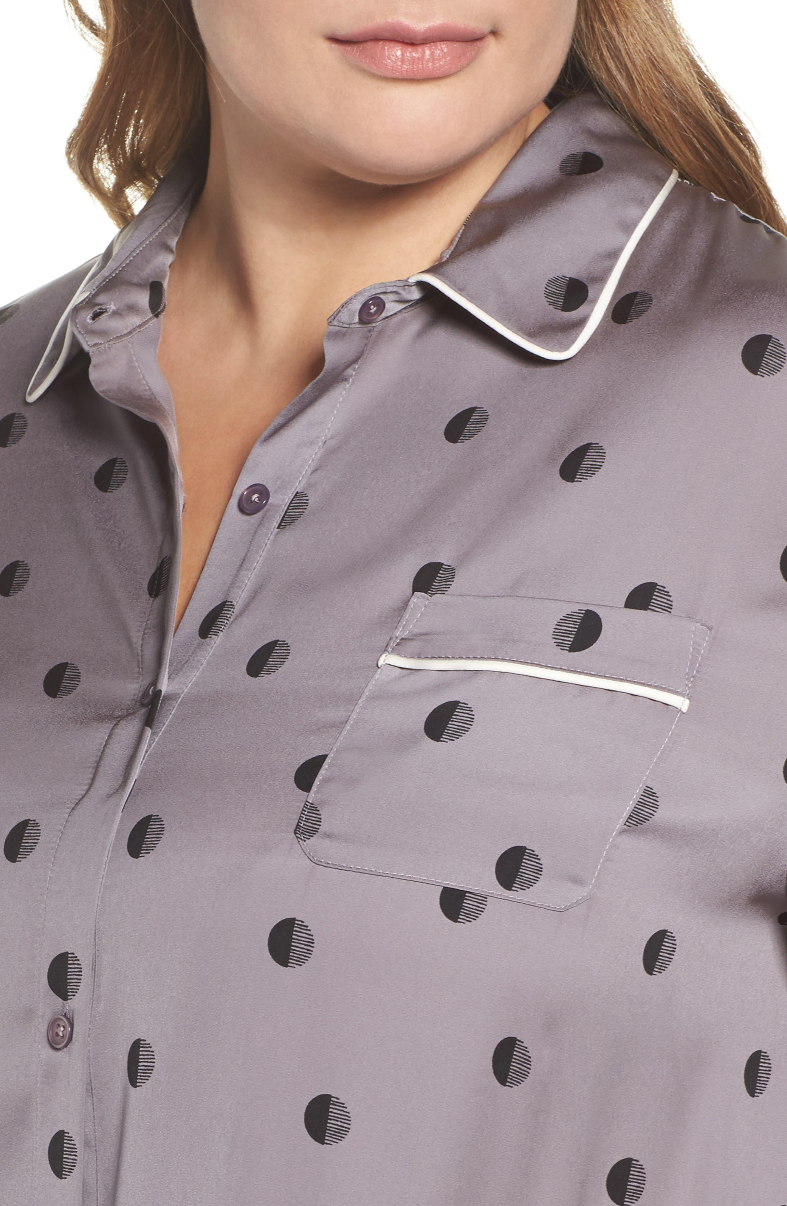 Washed Satin Sleep Shirt,                             Alternate thumbnail 4, color,                             067