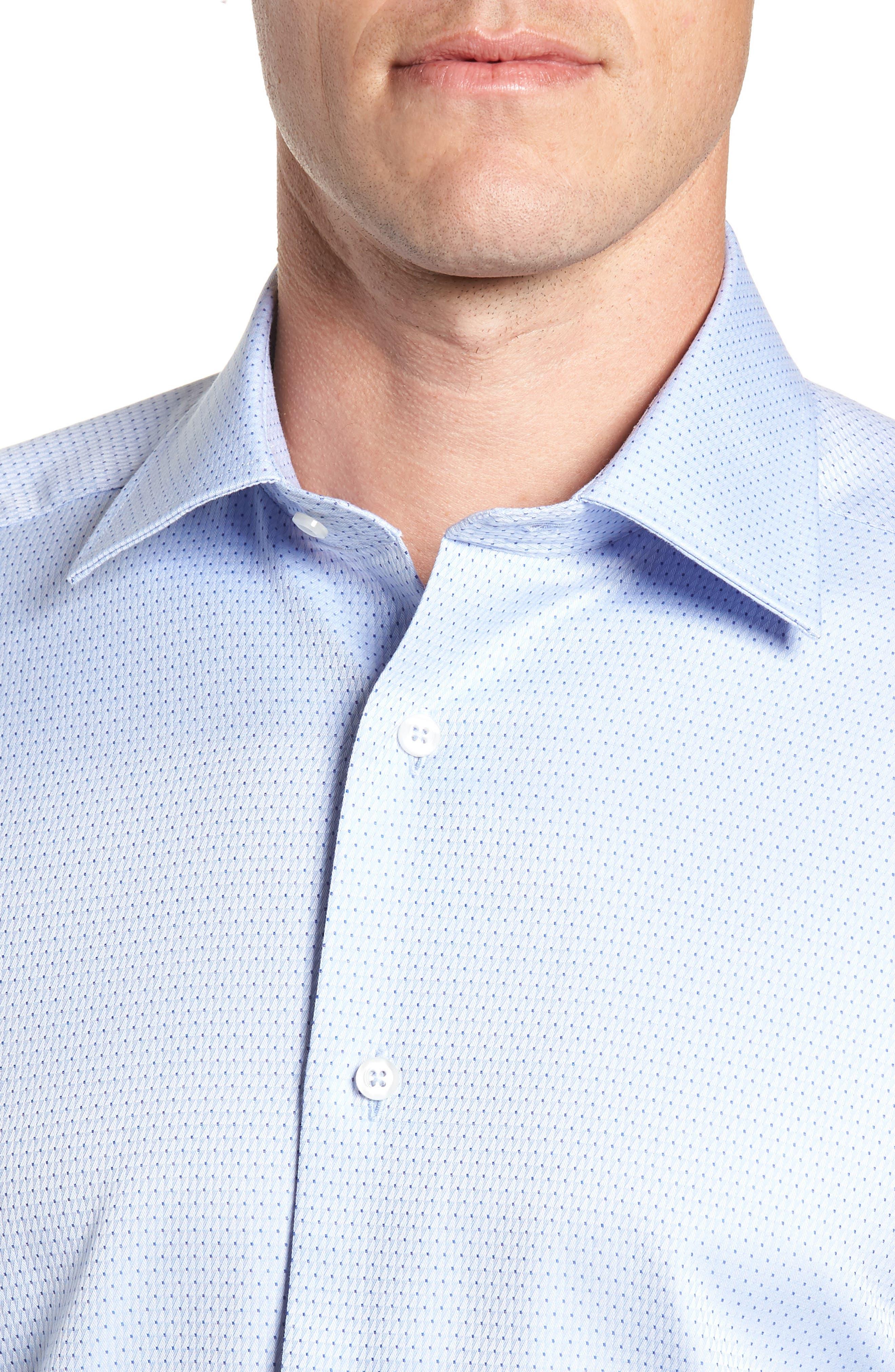 Trim Fit Check Dress Shirt,                             Alternate thumbnail 2, color,                             SKY/ NAVY