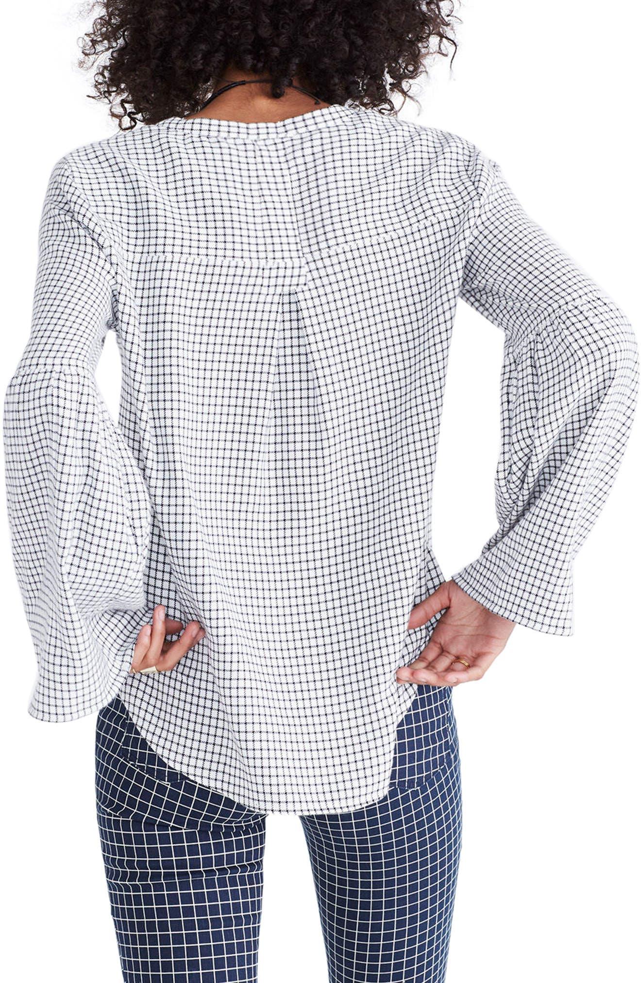 Bell Sleeve Plaid Shirt,                             Alternate thumbnail 2, color,                             109