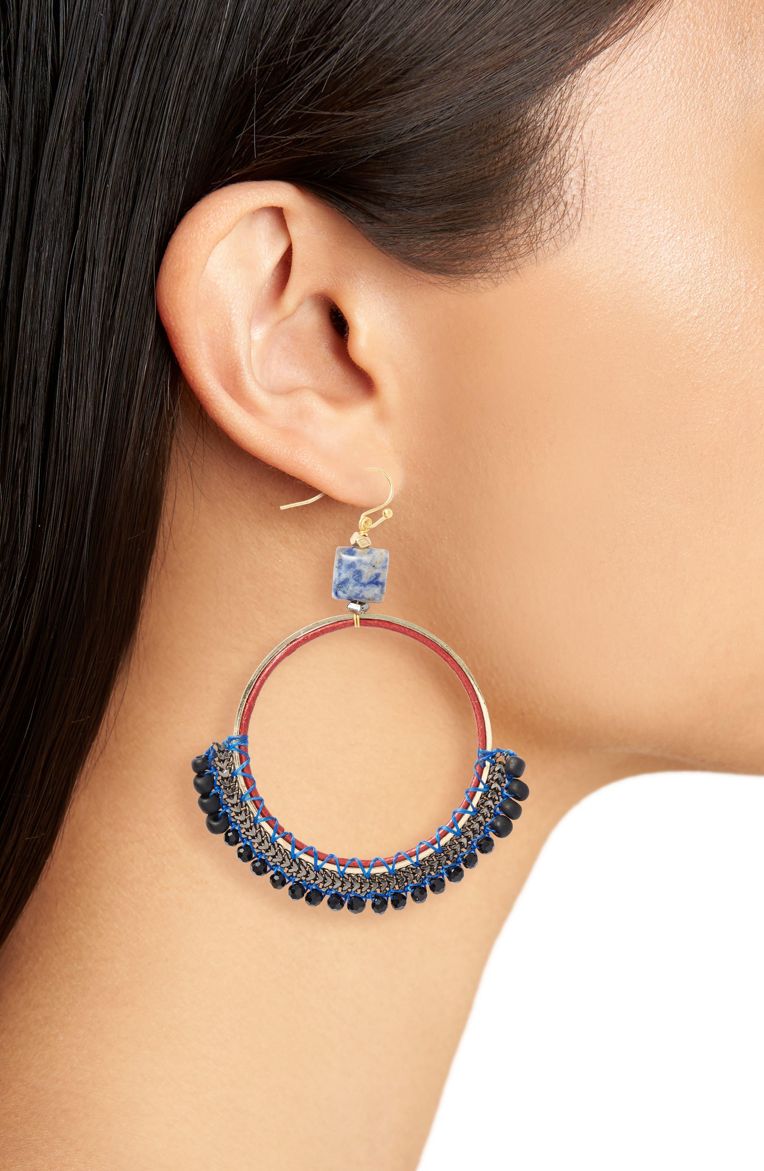 Bachubai Crystal & Chain Hoop Earrings,                             Alternate thumbnail 2, color,                             400