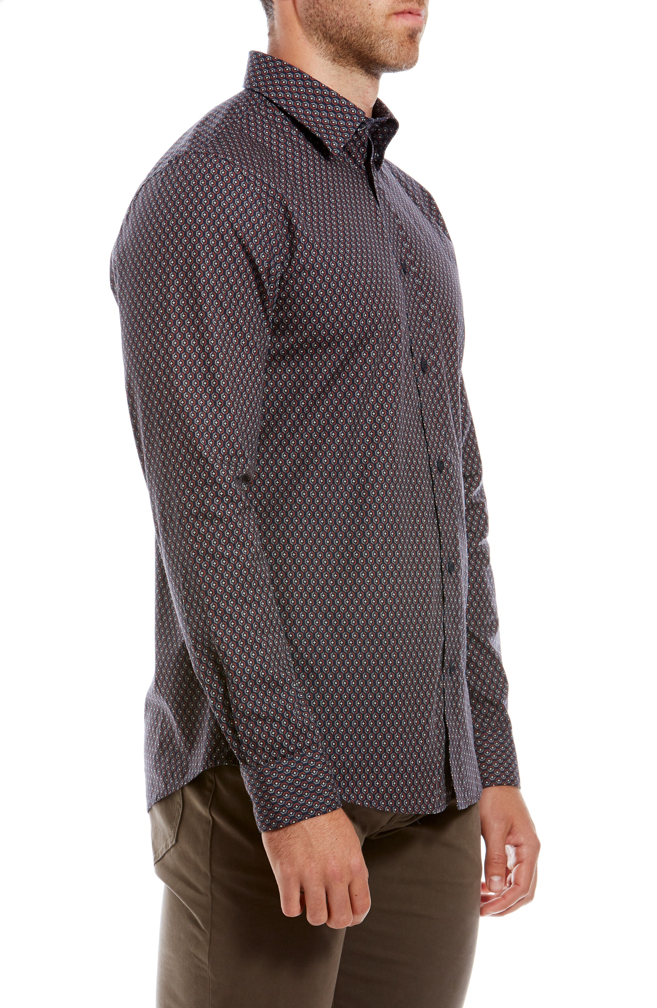 Retro Trim Fit Geo Print Sport Shirt,                             Alternate thumbnail 4, color,                             411