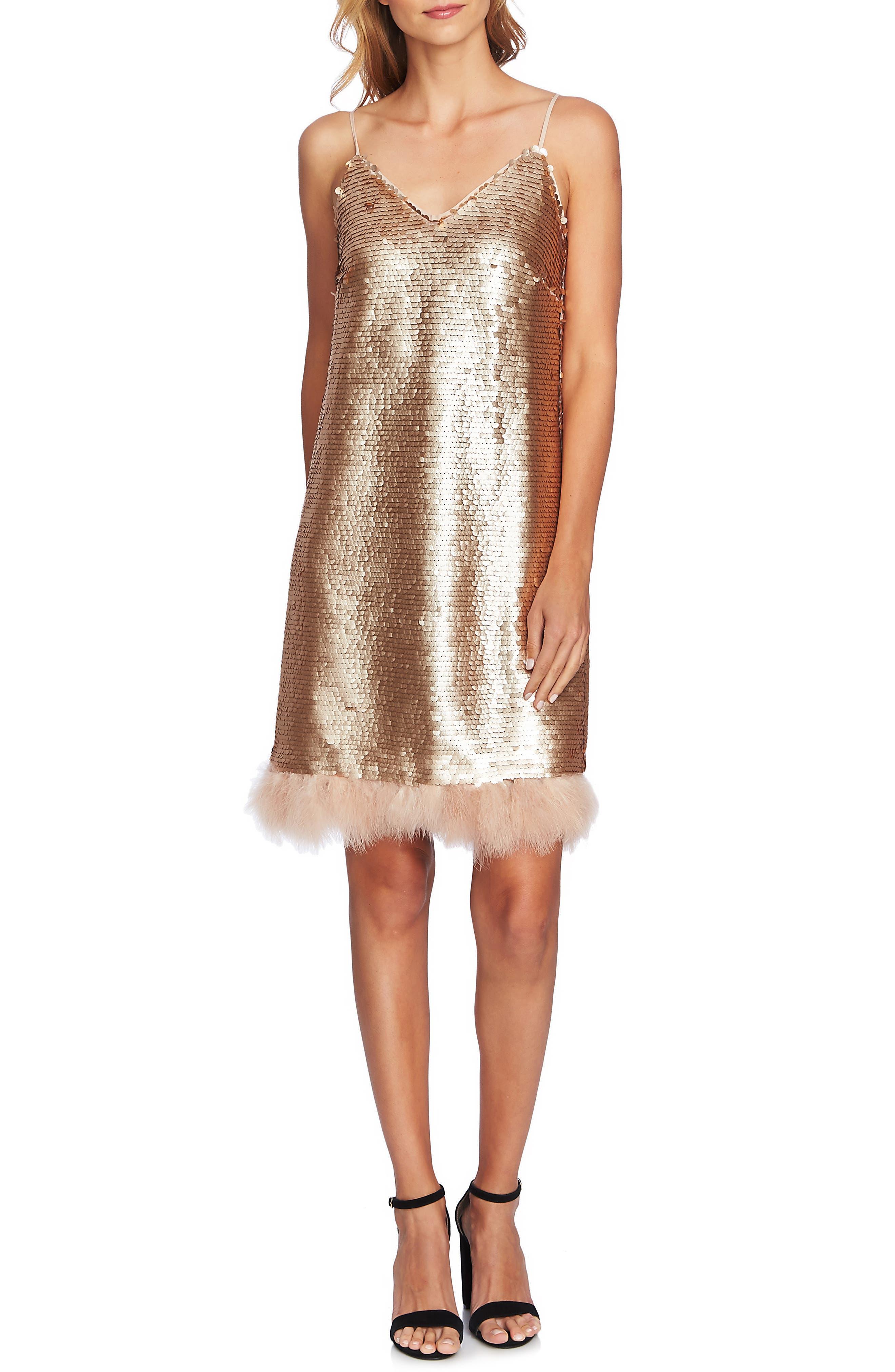 Feather Trim Sequin Slipdress,                         Main,                         color, BLUSH GOLD
